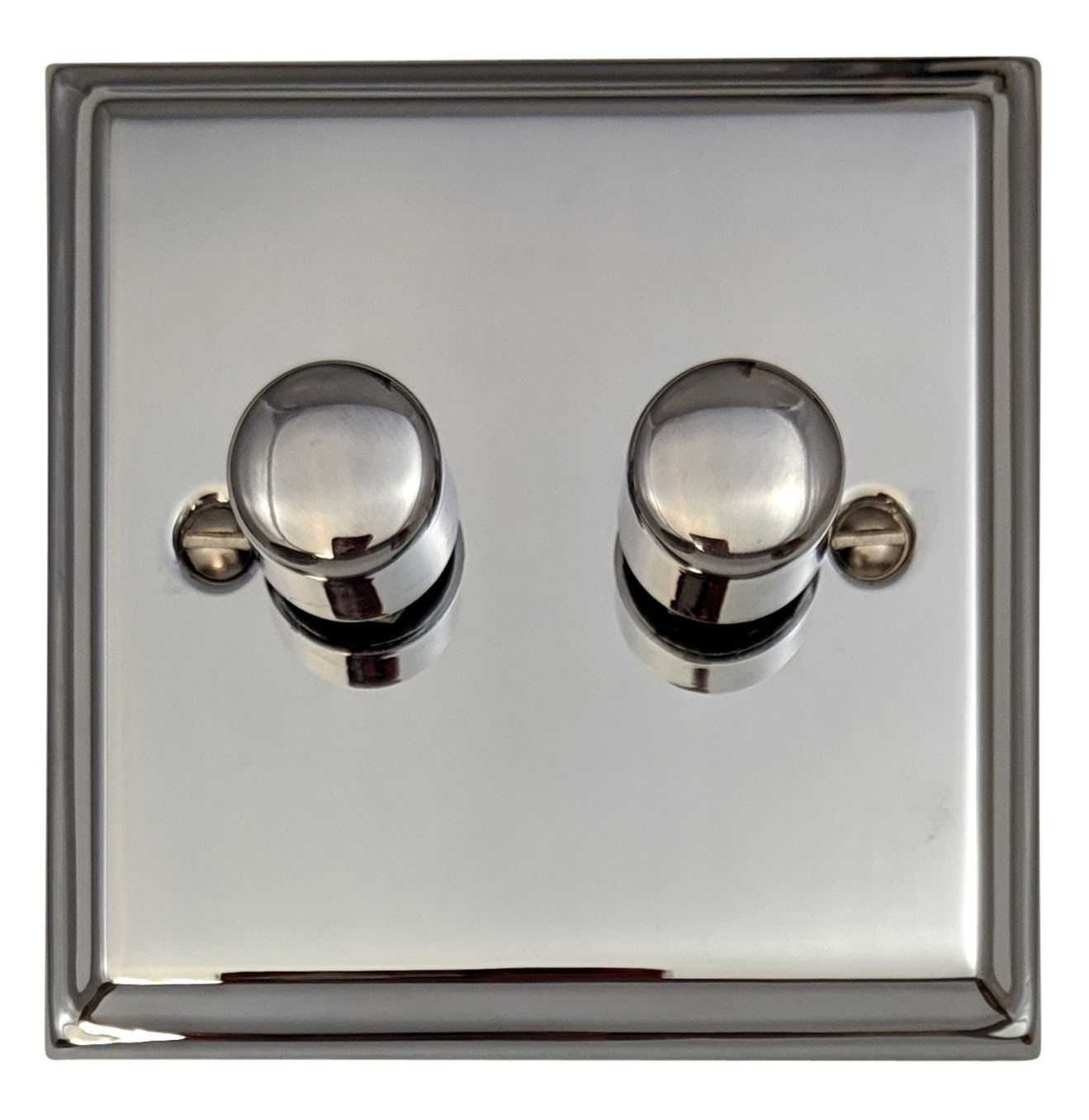 G&H DC12 Deco Plate Polished Chrome 2 Gang 1 or 2 Way 40-400W Dimmer Switch