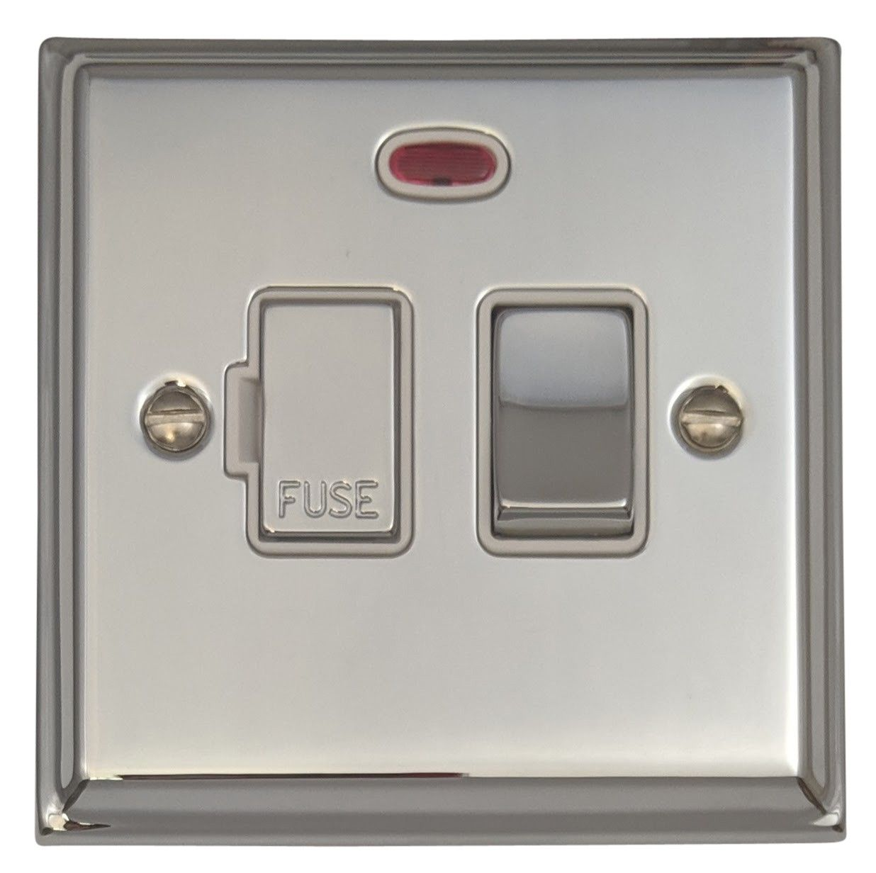 G&H DC227 Deco Plate Polished Chrome 1 Gang Fused Spur 13A Switched & Neon