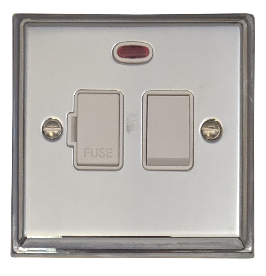 G&H DC27W Deco Plate Polished Chrome 1 Gang Fused Spur 13A Switched & Neon