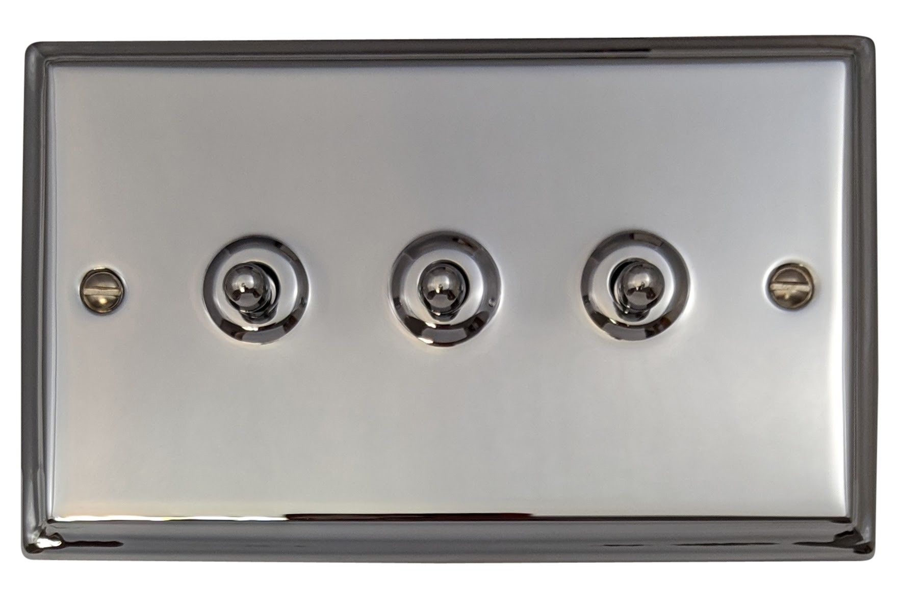 G&H DC283 Deco Plate Polished Chrome 3 Gang 1 or 2 Way Toggle Light Switch
