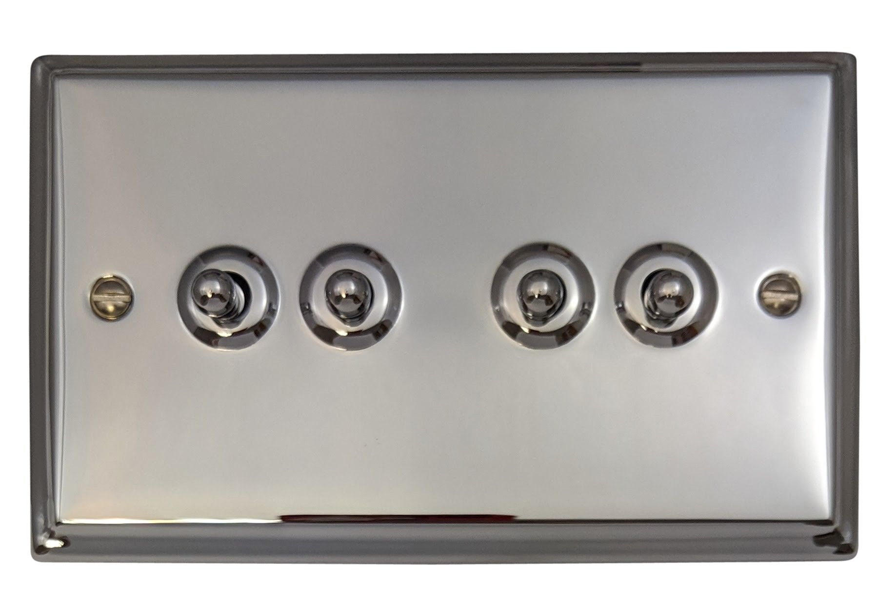 G&H DC284 Deco Plate Polished Chrome 4 Gang 1 or 2 Way Toggle Light Switch