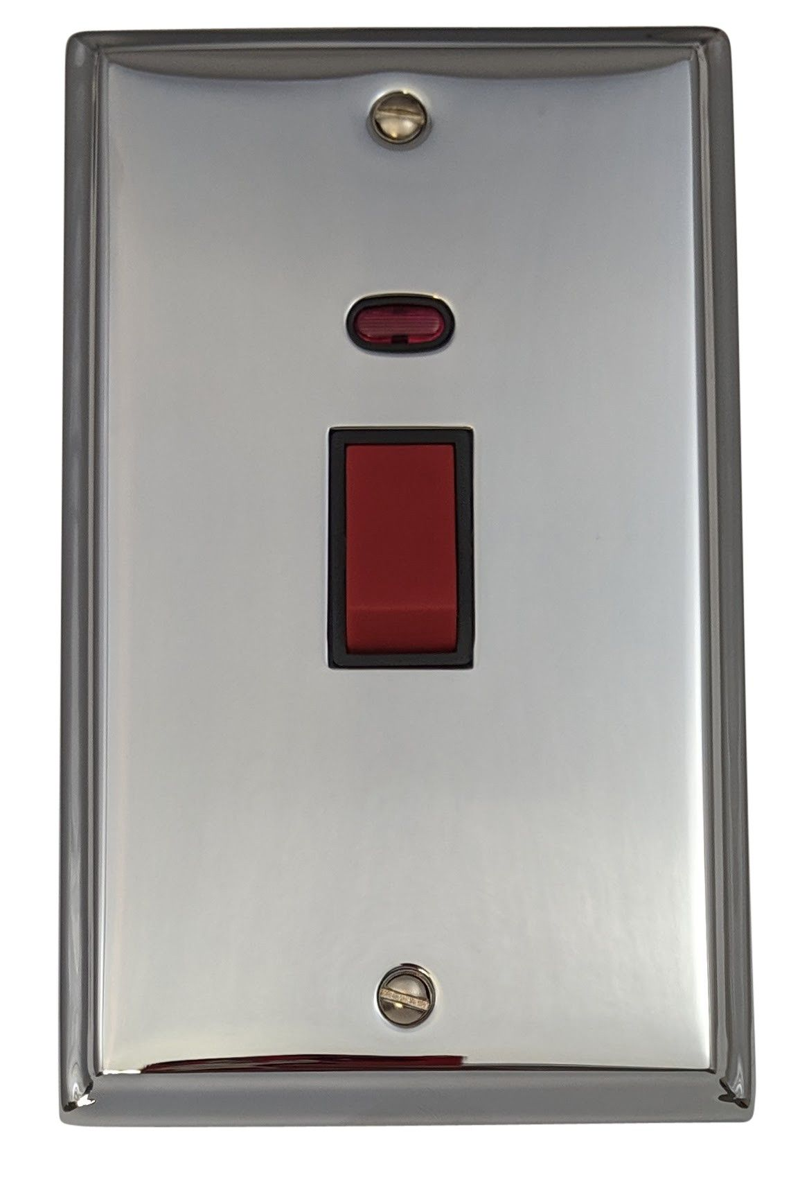 G&H DC28B Deco Plate Polished Chrome 45 Amp DP Cooker Switch & Neon Vertical Plate