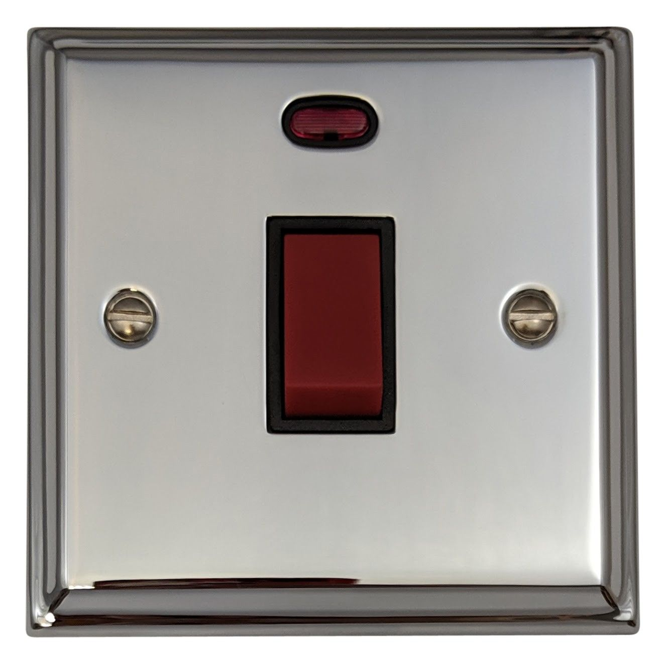 G&H DC46B Deco Plate Polished Chrome 45 Amp DP Cooker Switch & Neon Single Plate