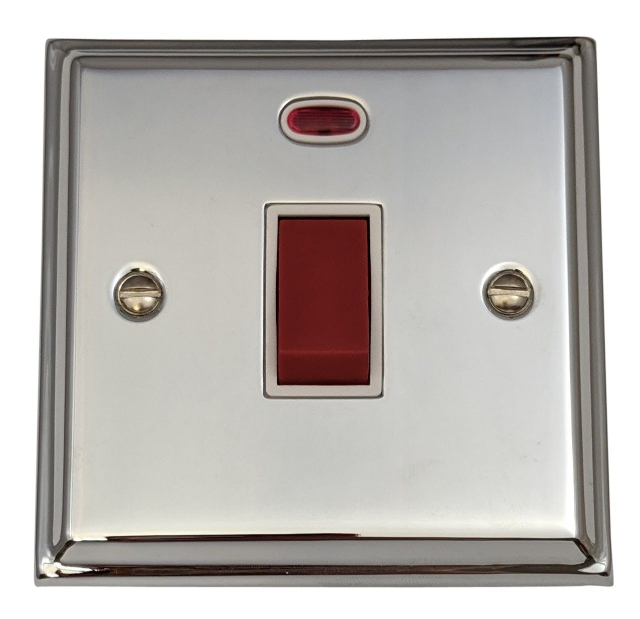 G&H DC46W Deco Plate Polished Chrome 45 Amp DP Cooker Switch & Neon Single Plate