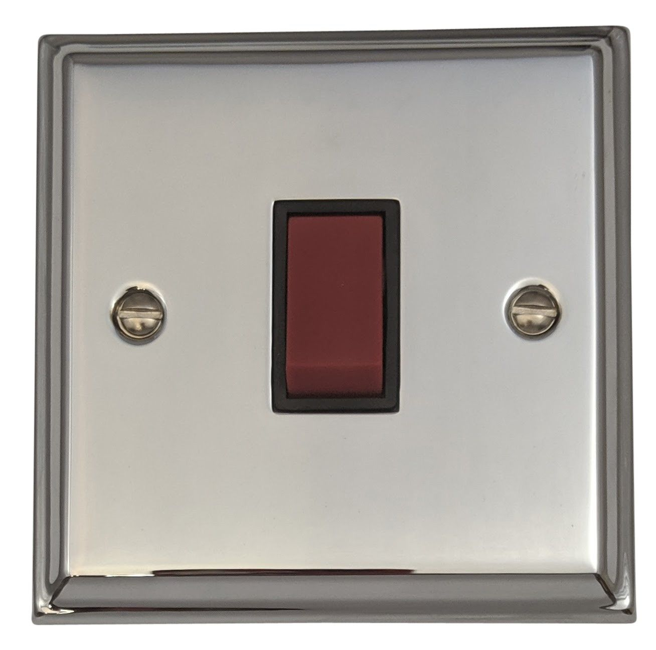 G&H DC47B Deco Plate Polished Chrome 45 Amp DP Cooker Switch Single Plate