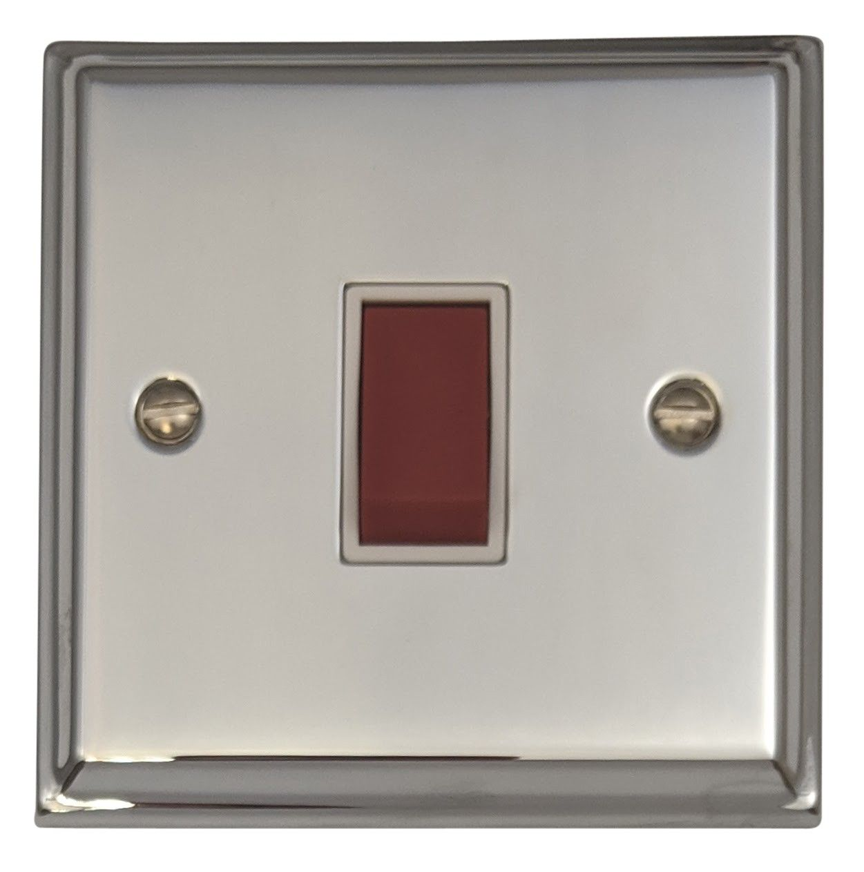 G&H DC47W Deco Plate Polished Chrome 45 Amp DP Cooker Switch Single Plate