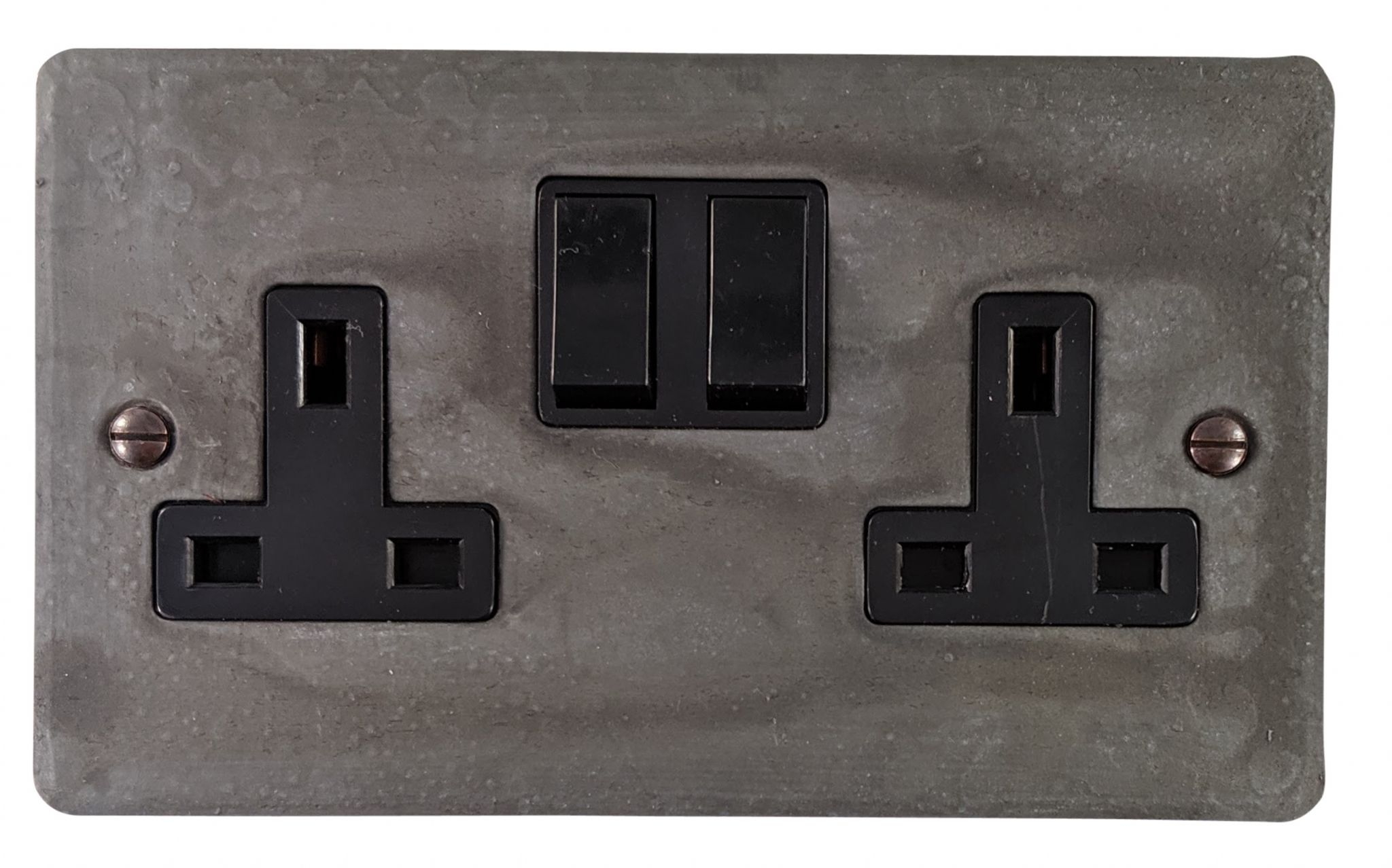 G&H FRP10B Flat Plate Rustic Pewter 2 Gang Double 13A Switched Plug Socket