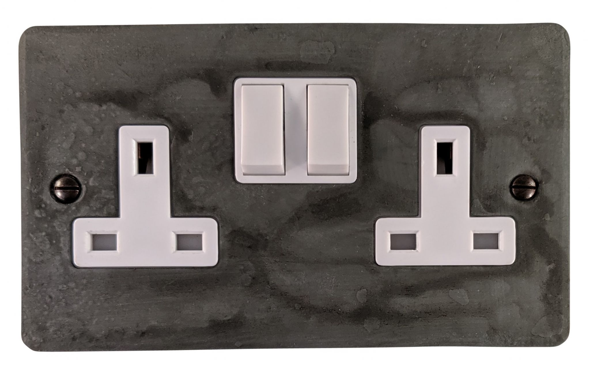 G&H FRP10W Flat Plate Rustic Pewter 2 Gang Double 13A Switched Plug Socket
