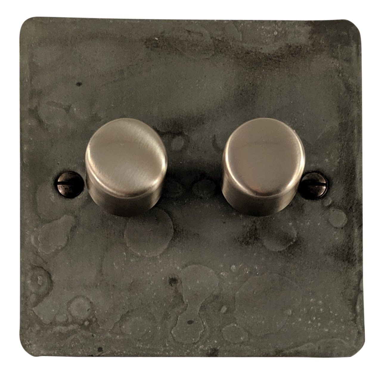 G&H FRP12 Flat Plate Rustic Pewter 2 Gang 1 or 2 Way 40-400W Dimmer Switch