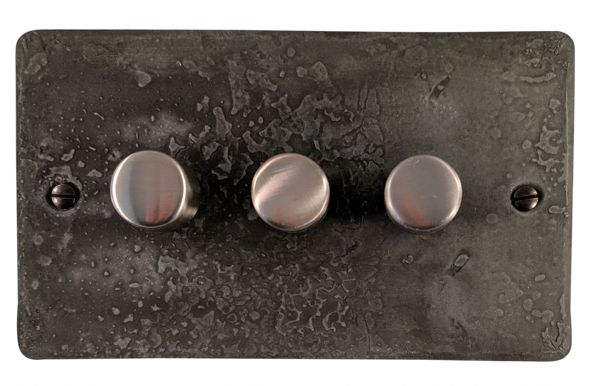 G&H FRP13 Flat Plate Rustic Pewter 3 Gang 1 or 2 Way 40-400W Dimmer Switch