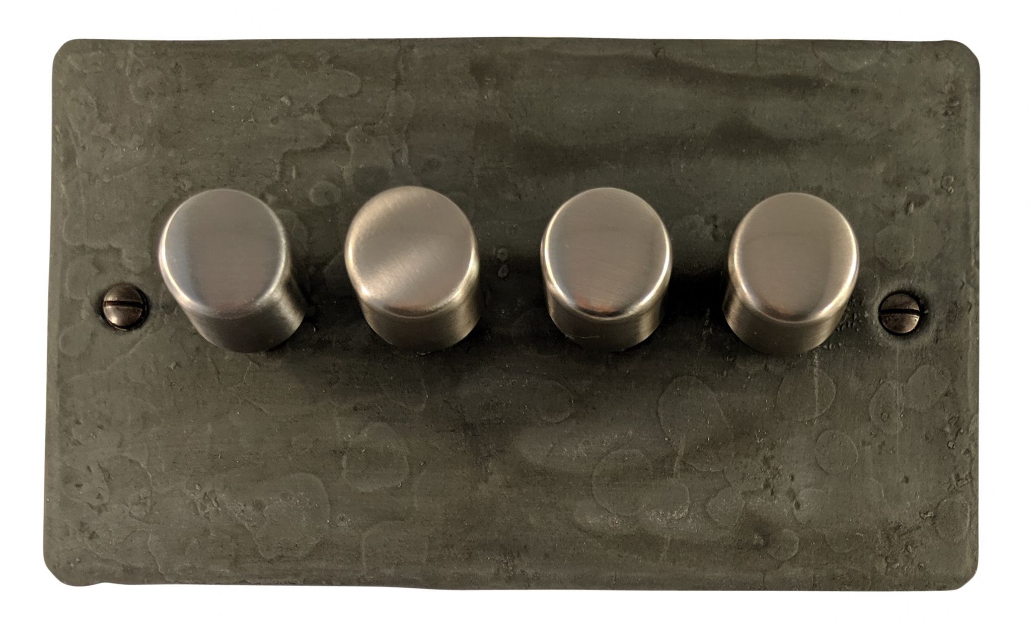 G&H FRP14 Flat Plate Rustic Pewter 4 Gang 1 or 2 Way 40-400W Dimmer Switch