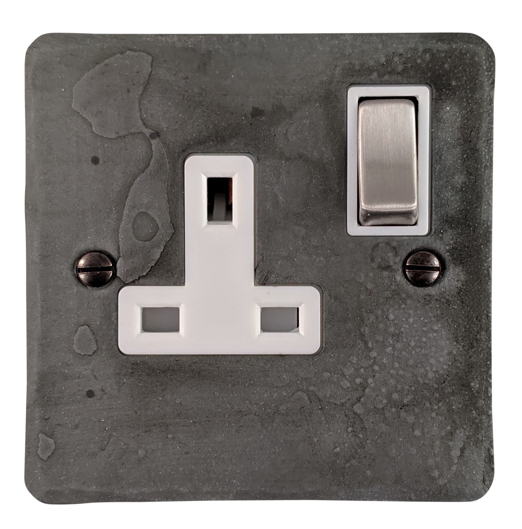 G&H FRP209 Flat Plate Rustic Pewter 1 Gang Single 13A Switched Plug Socket