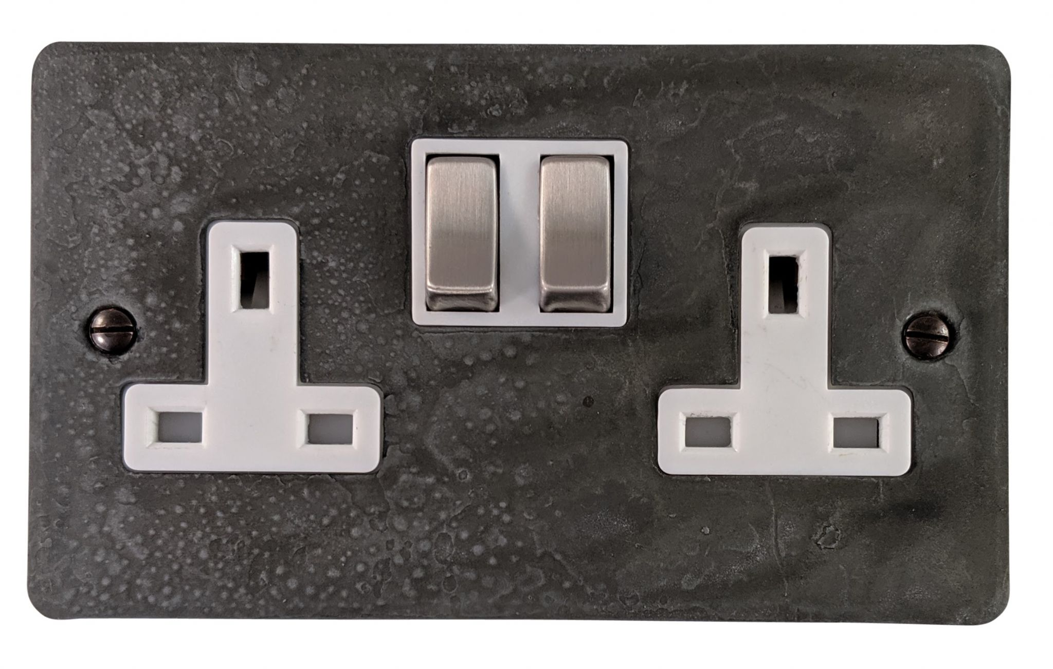 G&H FRP210 Flat Plate Rustic Pewter 2 Gang Double 13A Switched Plug Socket