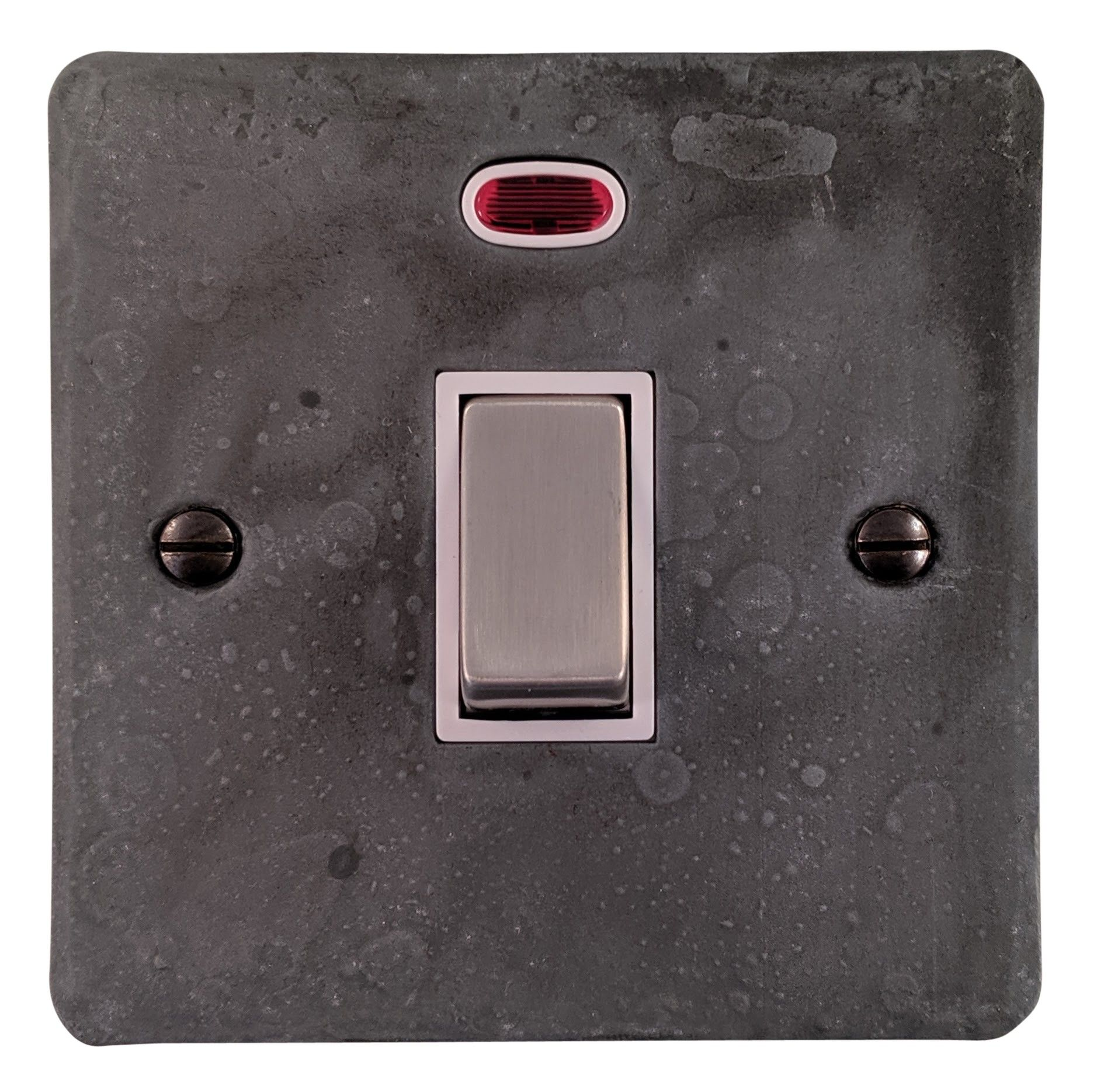 G&H FRP226 Flat Plate Rustic Pewter 1 Gang 20 Amp Double Pole Switch & Neon