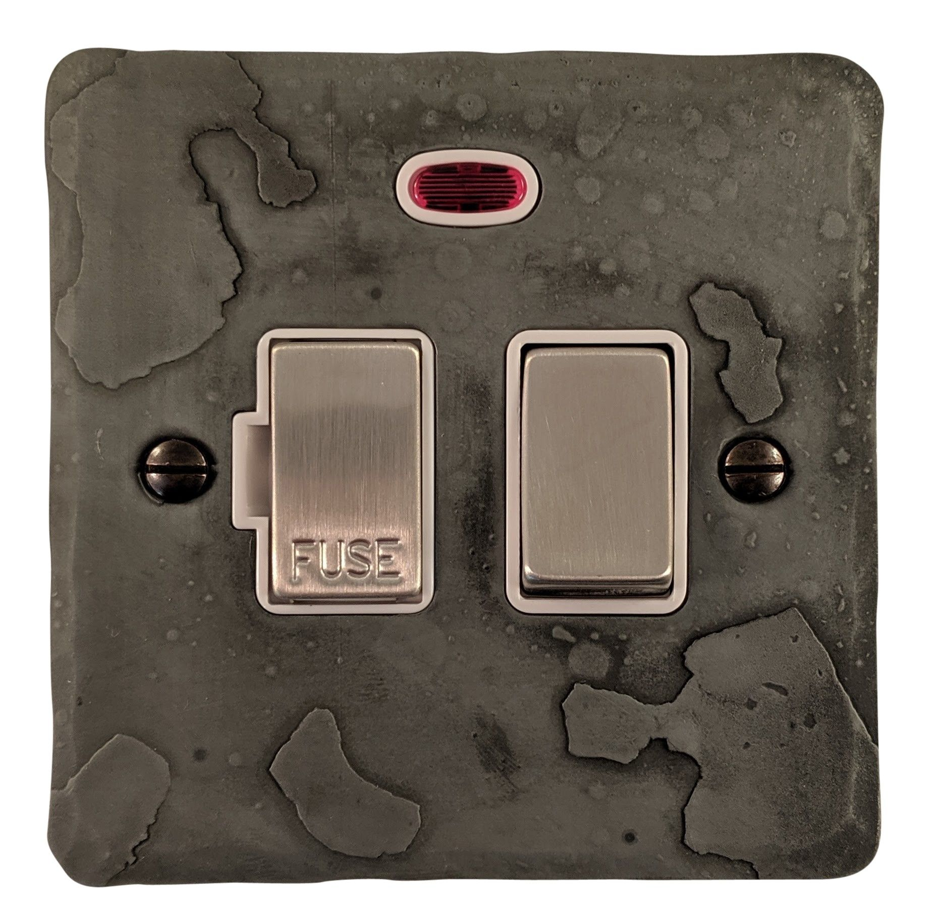 G&H FRP227 Flat Plate Rustic Pewter 1 Gang Fused Spur 13A Switched & Neon