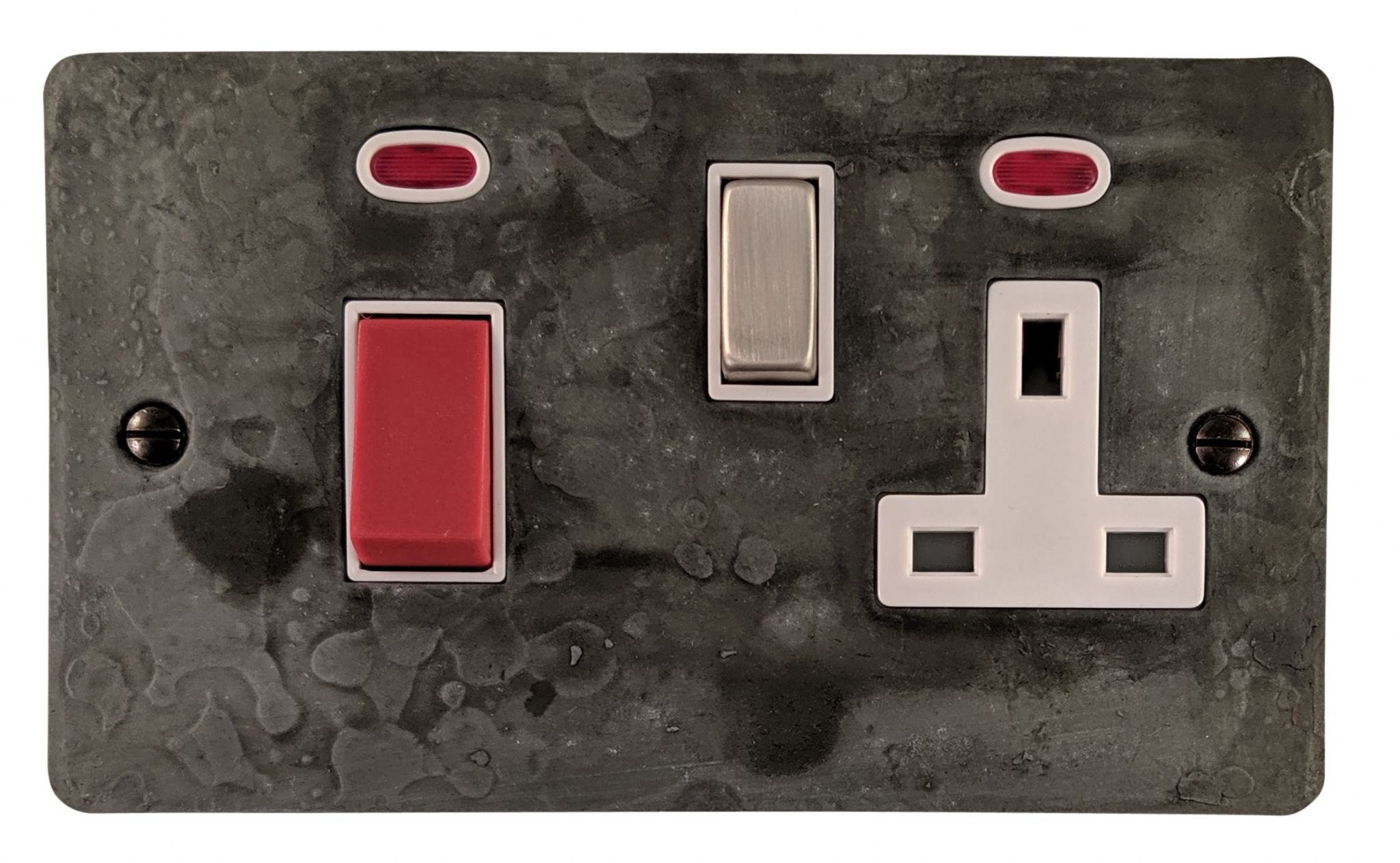 G&H FRP229 Flat Plate Rustic Pewter 45 Amp DP Cooker Switch & 13A Switched Socket