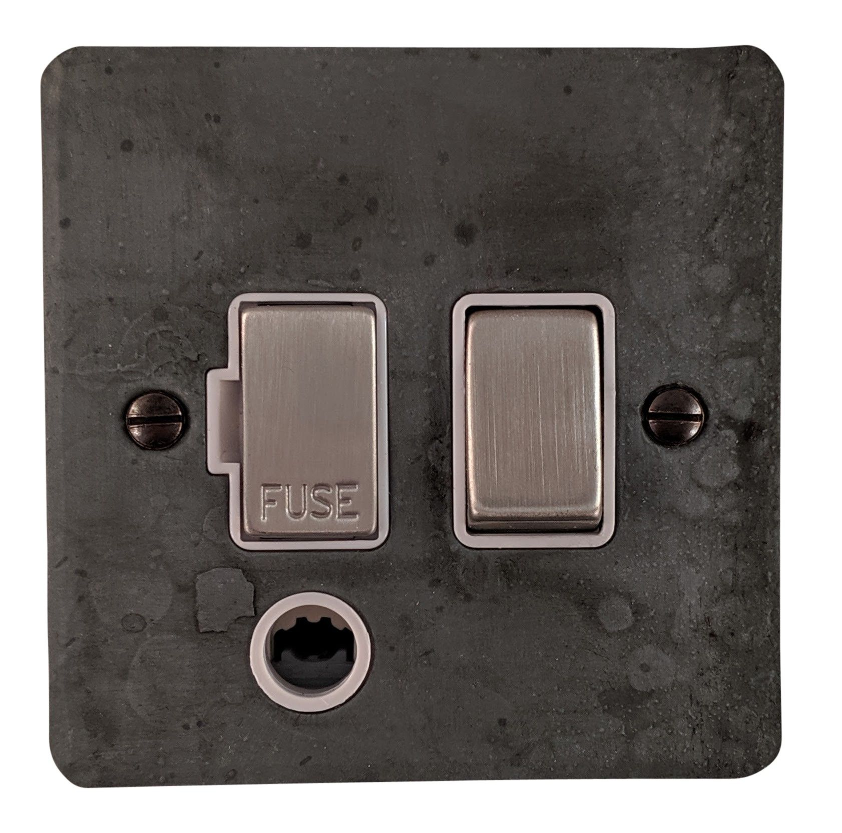 G&H FRP256 Flat Plate Rustic Pewter 1 Gang Fused Spur 13A Switched & Flex Outlet