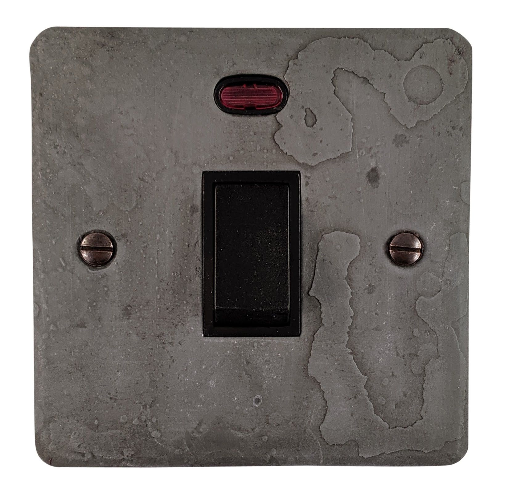 G&H FRP26B Flat Plate Rustic Pewter 1 Gang 20 Amp Double Pole Switch & Neon