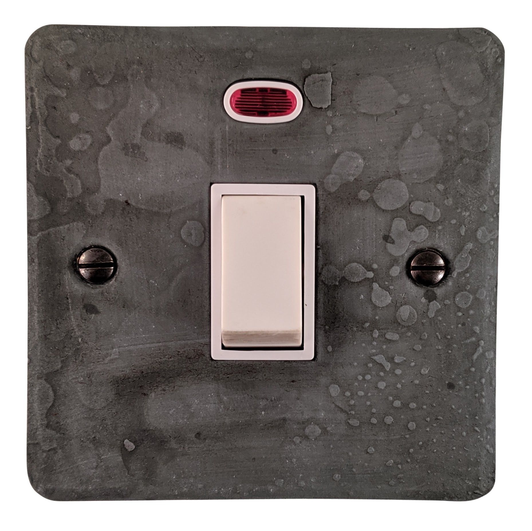 G&H FRP26W Flat Plate Rustic Pewter 1 Gang 20 Amp Double Pole Switch & Neon