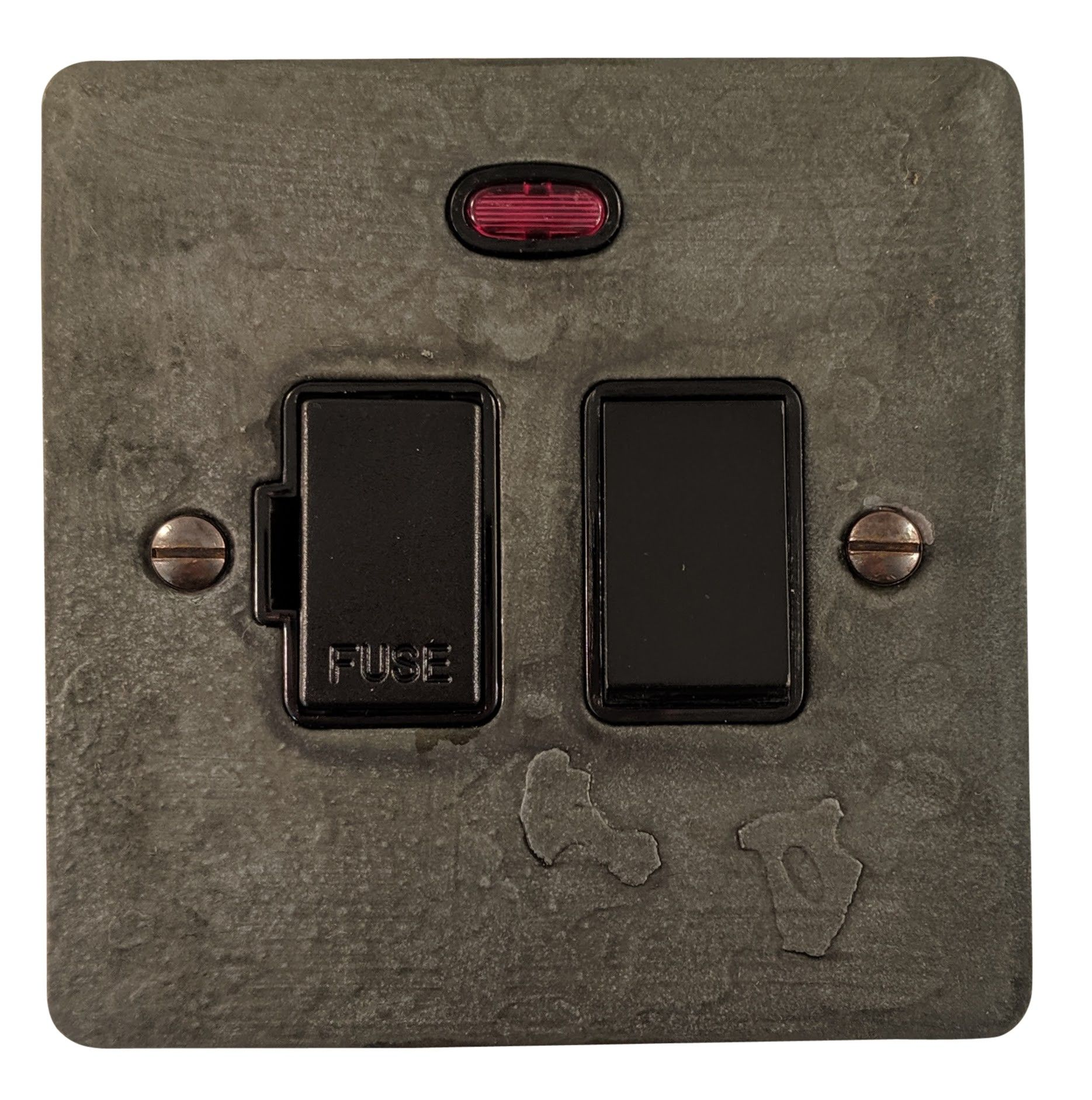 G&H FRP27B Flat Plate Rustic Pewter 1 Gang Fused Spur 13A Switched & Neon
