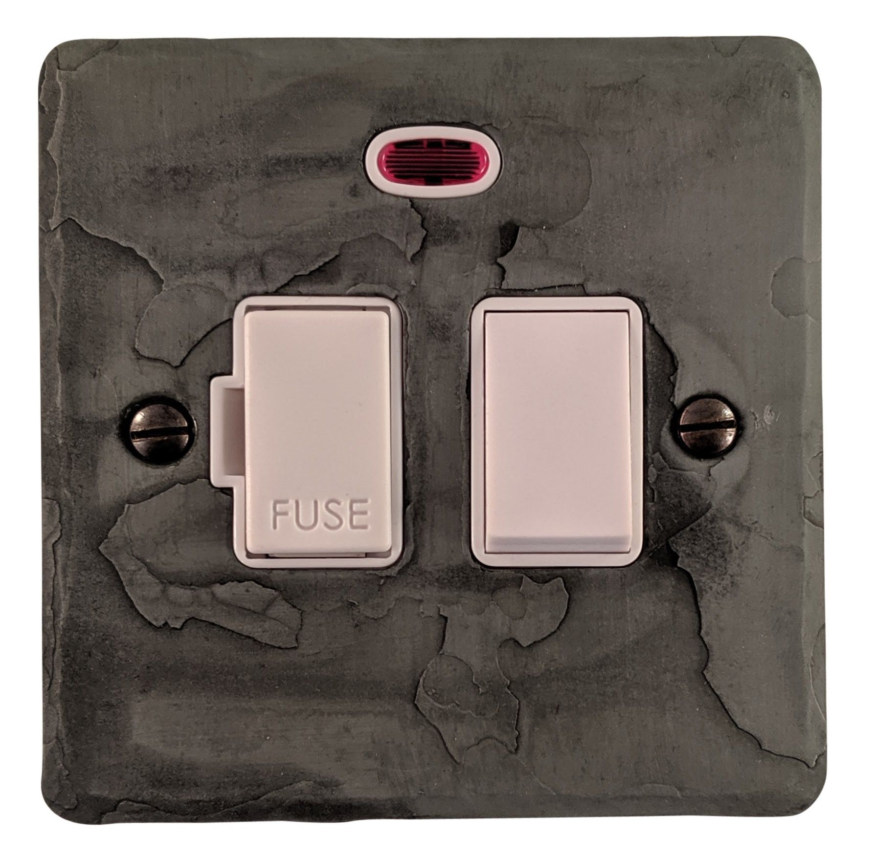 G&H FRP27W Flat Plate Rustic Pewter 1 Gang Fused Spur 13A Switched & Neon