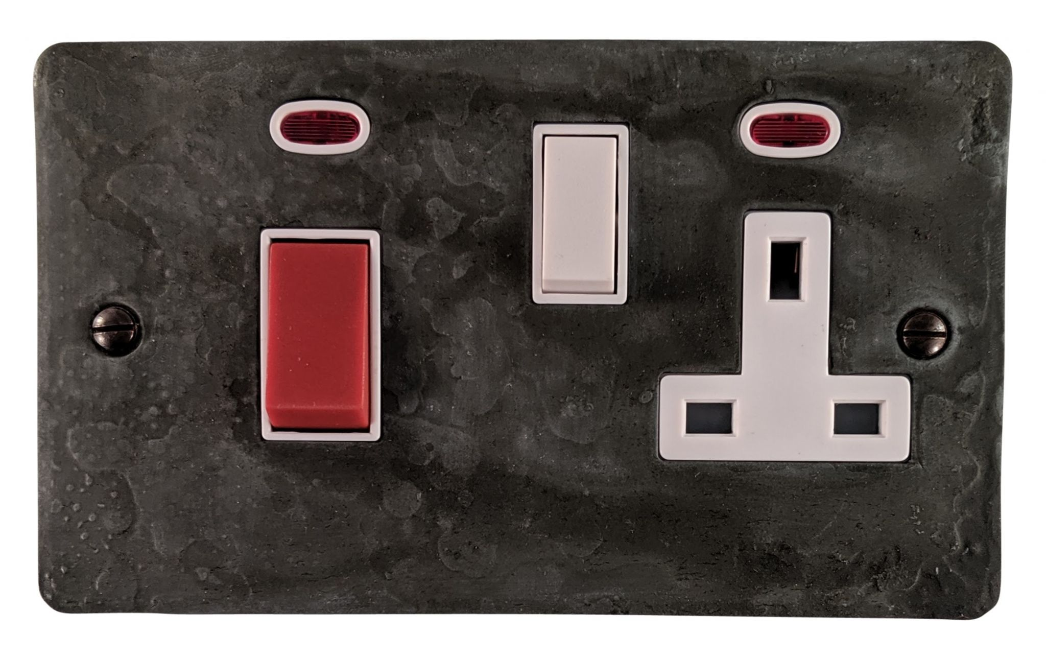 G&H FRP29W Flat Plate Rustic Pewter 45 Amp DP Cooker Switch & 13A Switched Socket