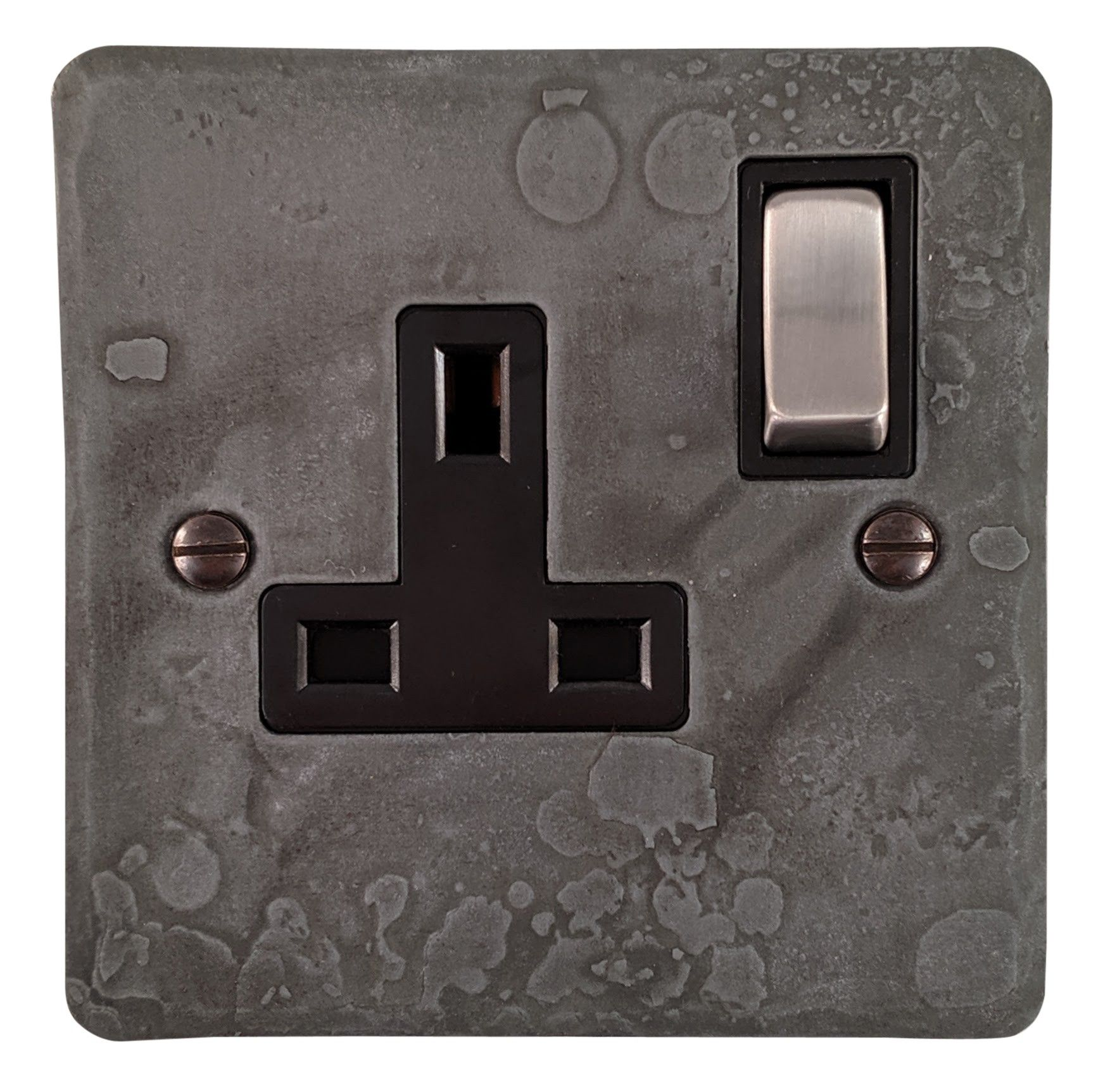 G&H FRP309 Flat Plate Rustic Pewter 1 Gang Single 13A Switched Plug Socket