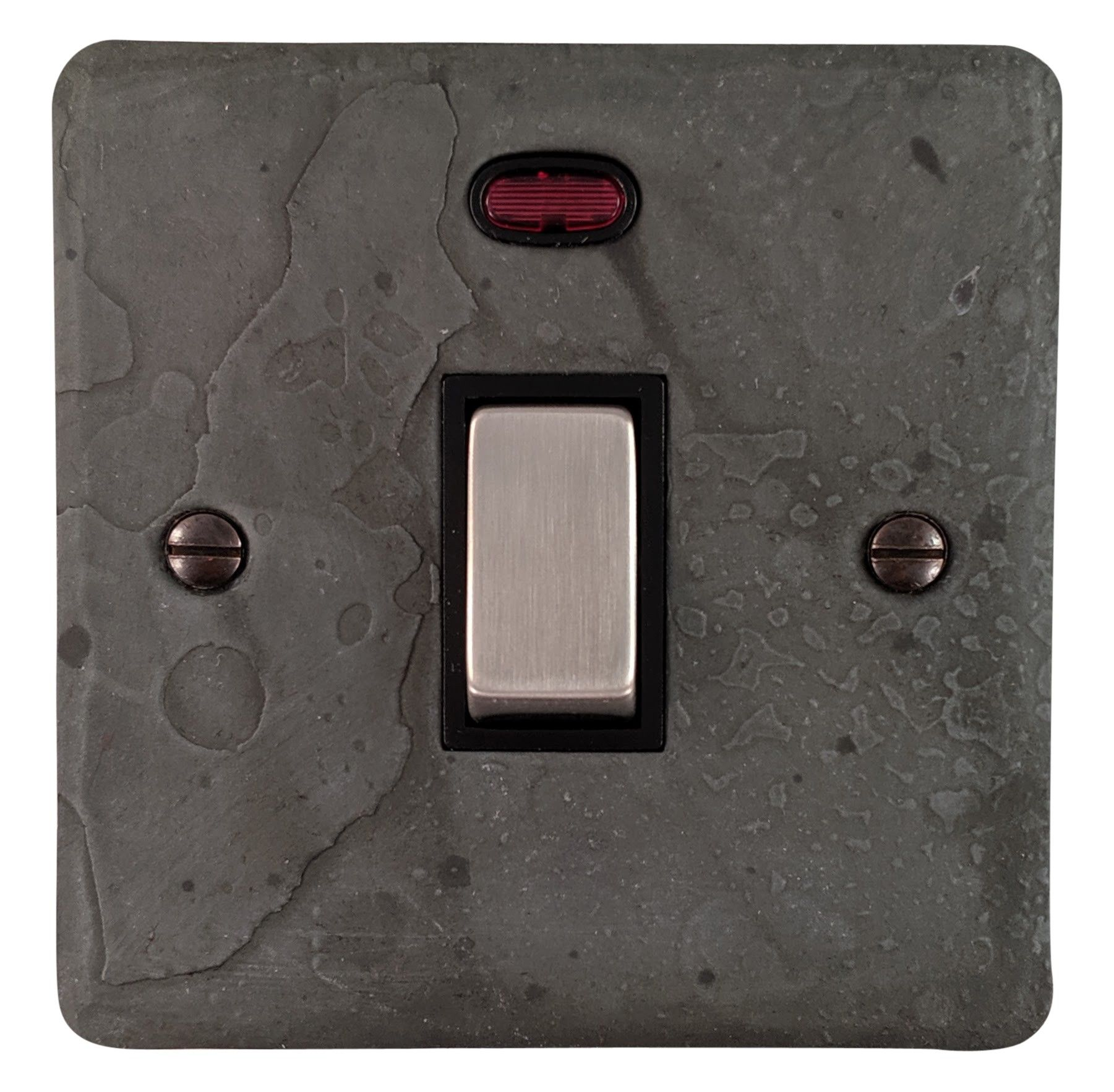 G&H FRP326 Flat Plate Rustic Pewter 1 Gang 20 Amp Double Pole Switch & Neon