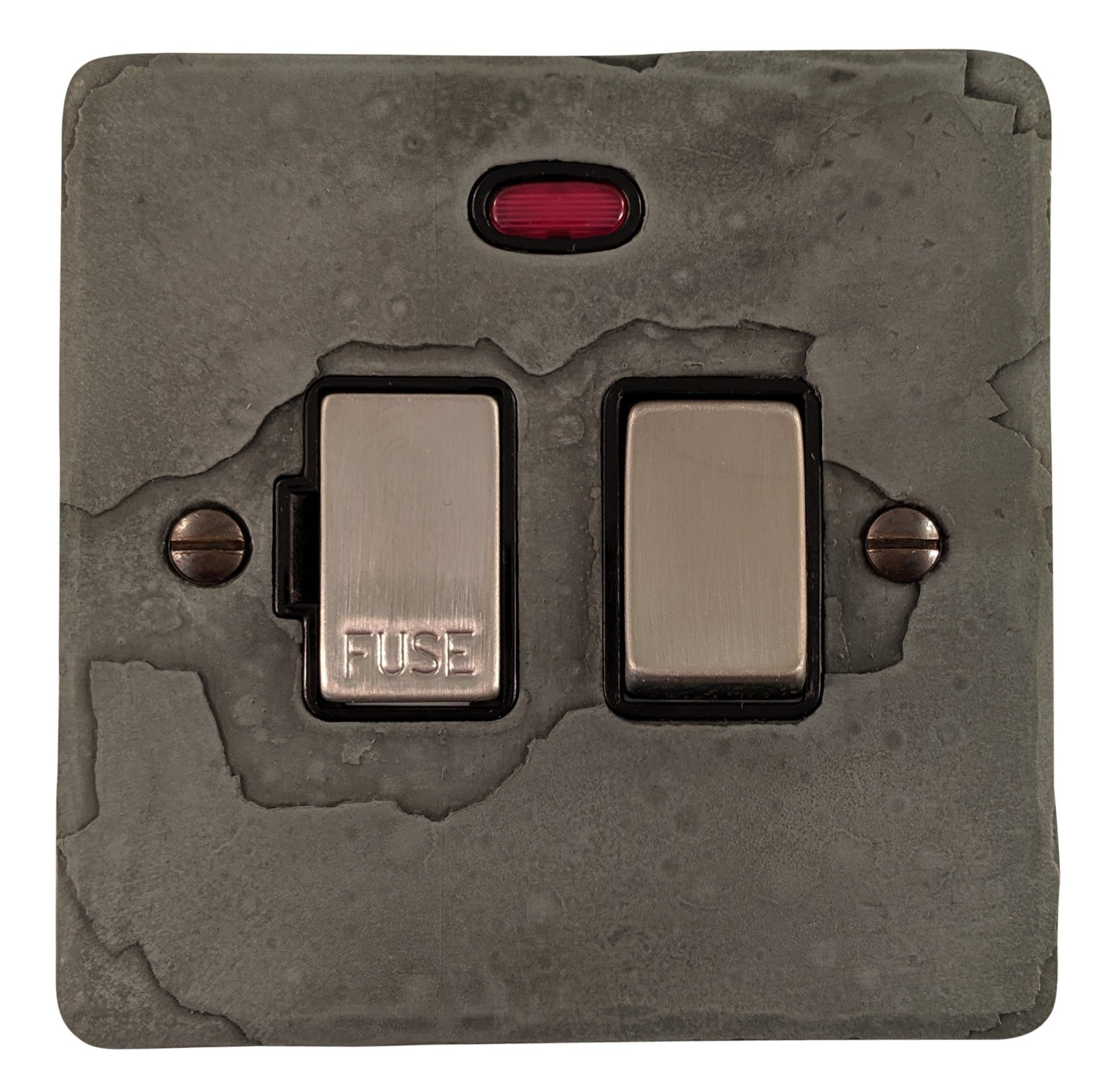 G&H FRP327 Flat Plate Rustic Pewter 1 Gang Fused Spur 13A Switched & Neon