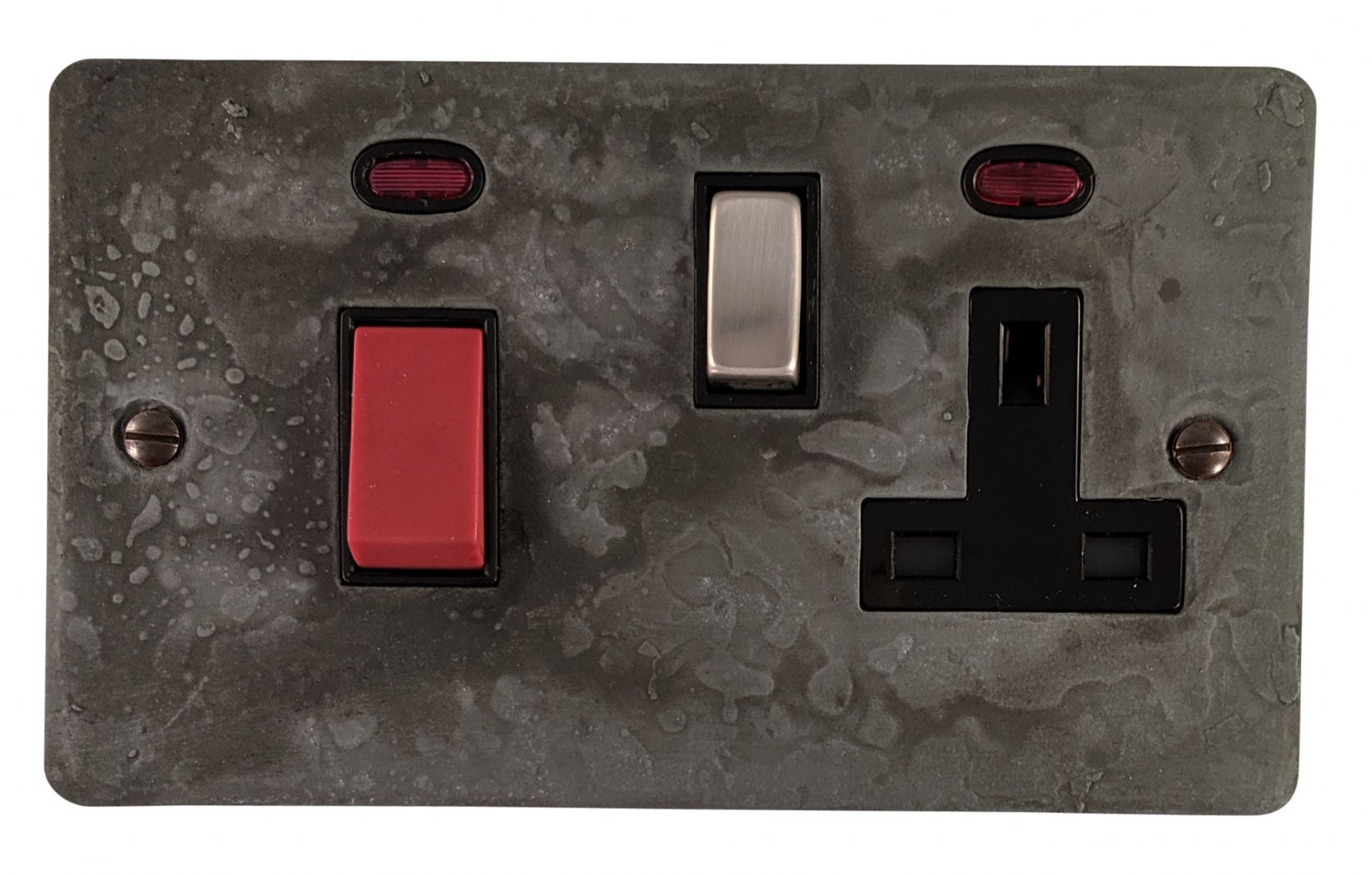 G&H FRP329 Flat Plate Rustic Pewter 45 Amp DP Cooker Switch & 13A Switched Socket