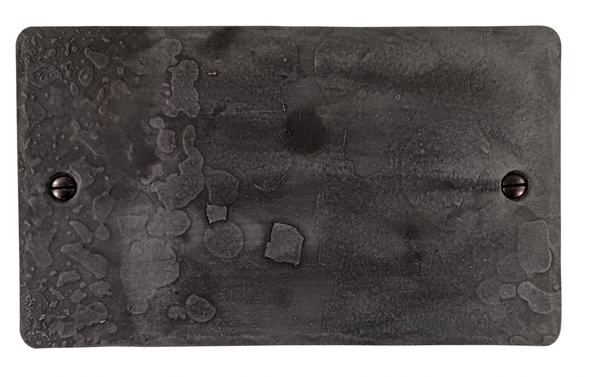 G&H FRP32 Flat Plate Rustic Pewter 2 Gang Double Blank Plate