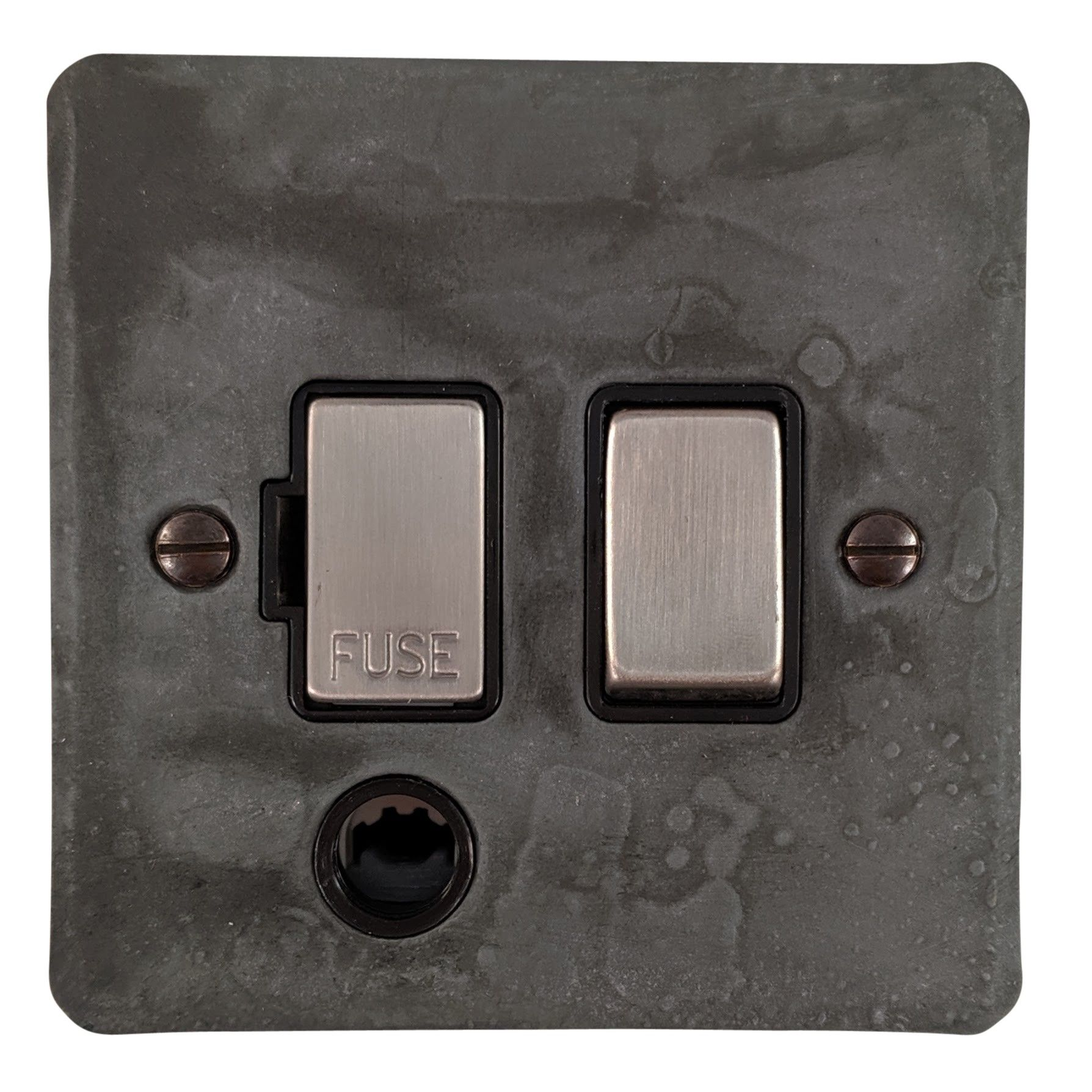 G&H FRP356 Flat Plate Rustic Pewter 1 Gang Fused Spur 13A Switched & Flex Outlet