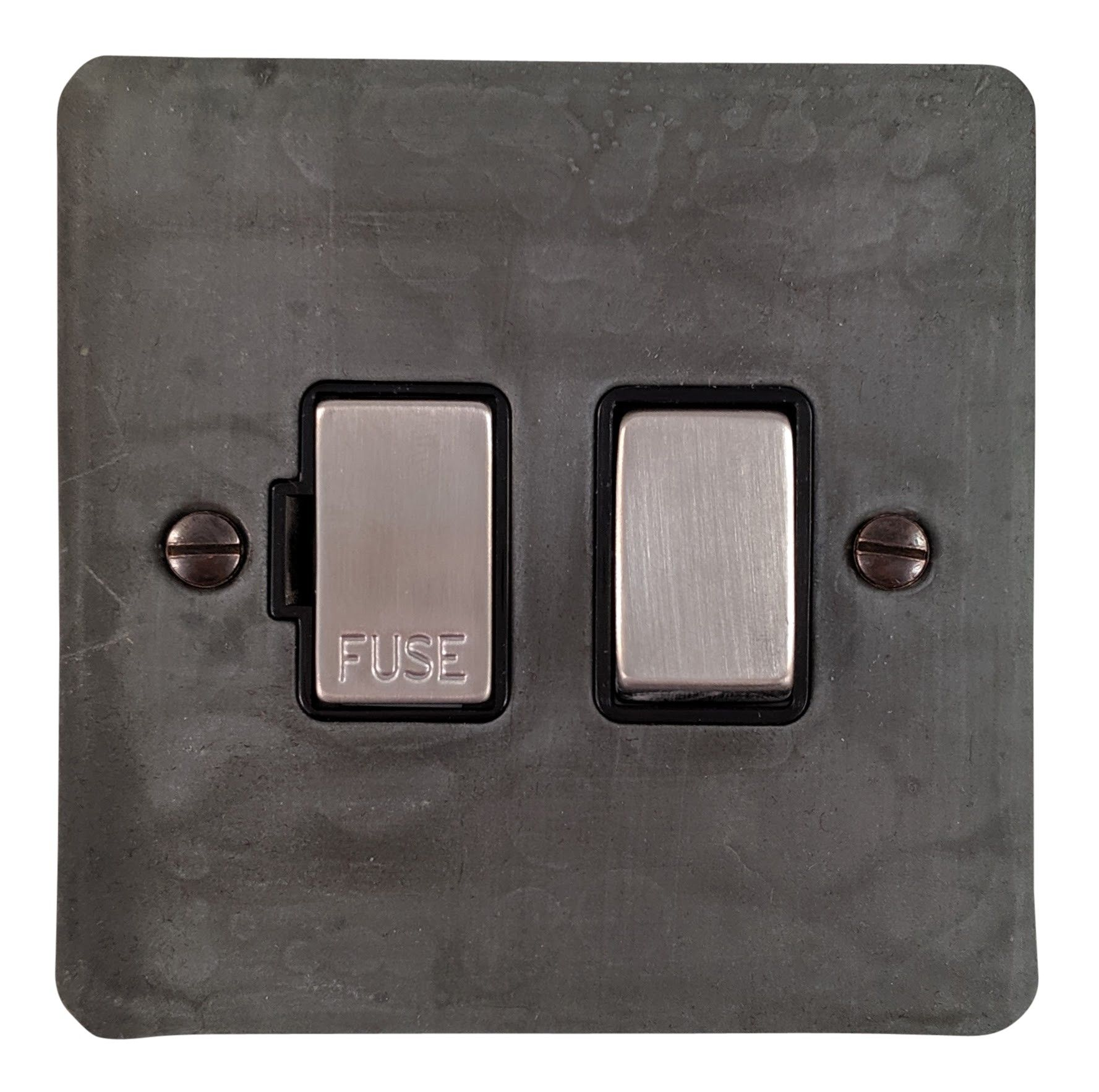 G&H FRP357 Flat Plate Rustic Pewter 1 Gang Fused Spur 13A Switched