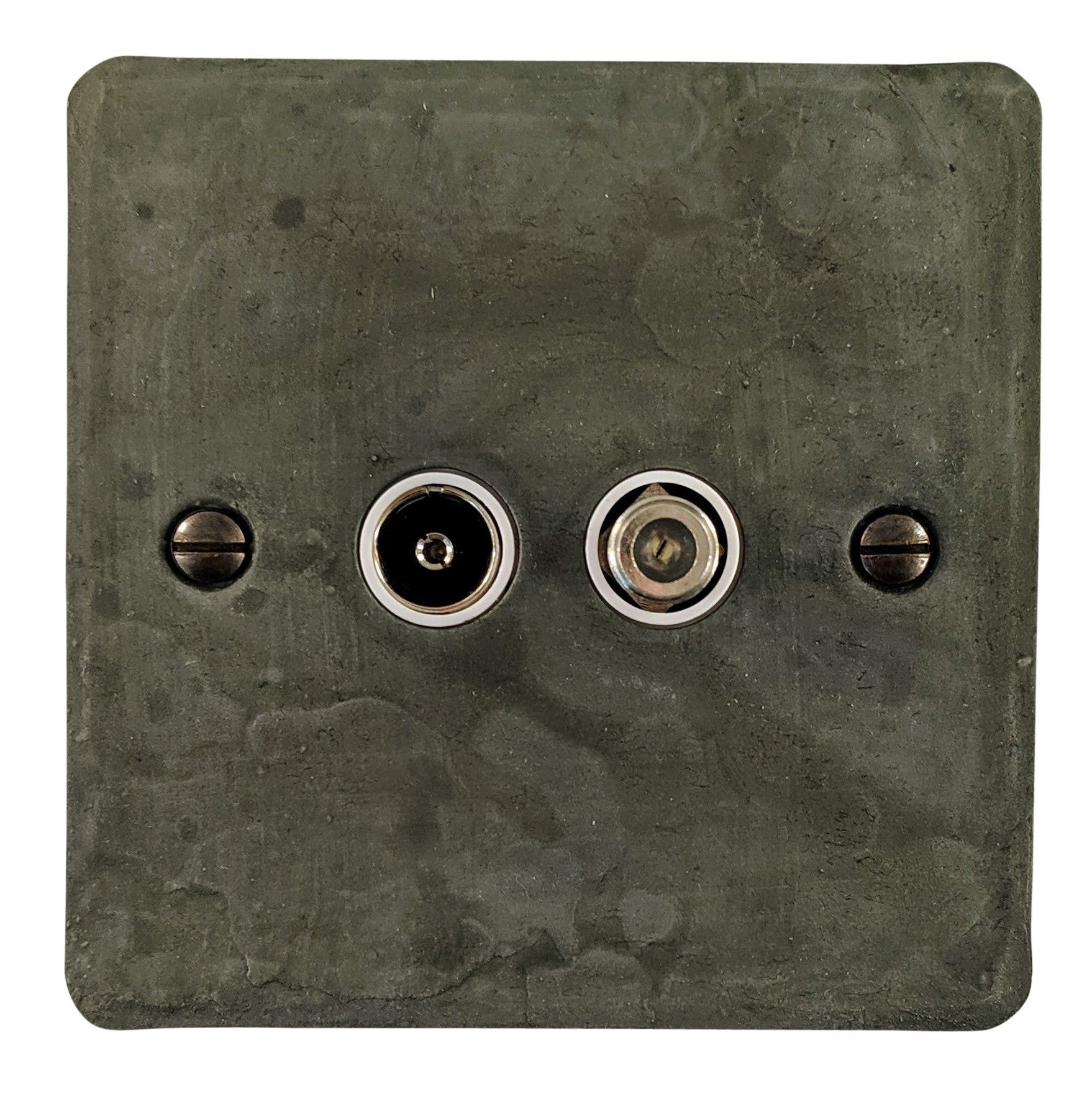 G&H FRP38W Flat Plate Rustic Pewter 1 Gang TV Coax & Satellite Socket Point
