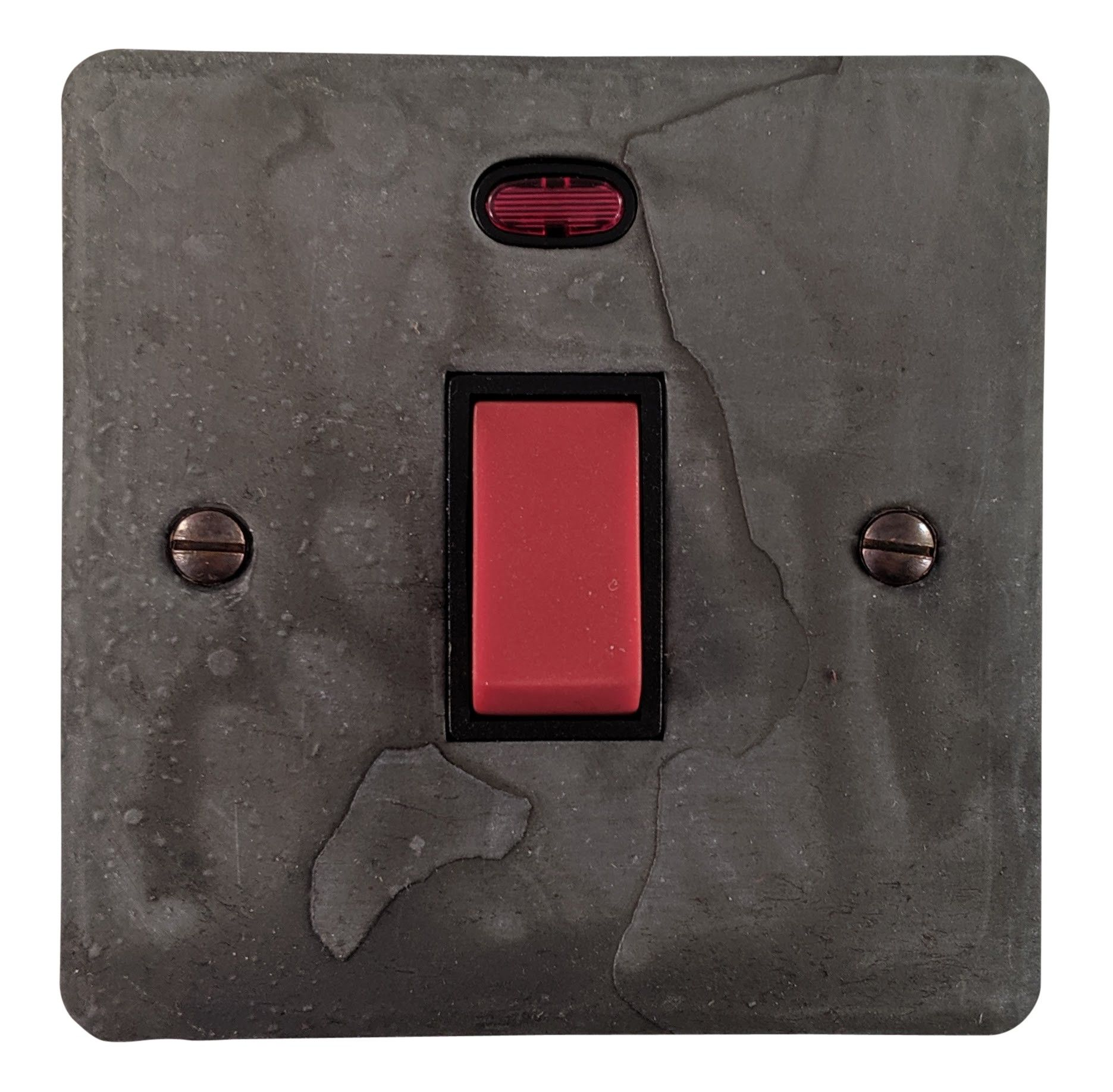 G&H FRP46B Flat Plate Rustic Pewter 45 Amp DP Cooker Switch & Neon Single Plate