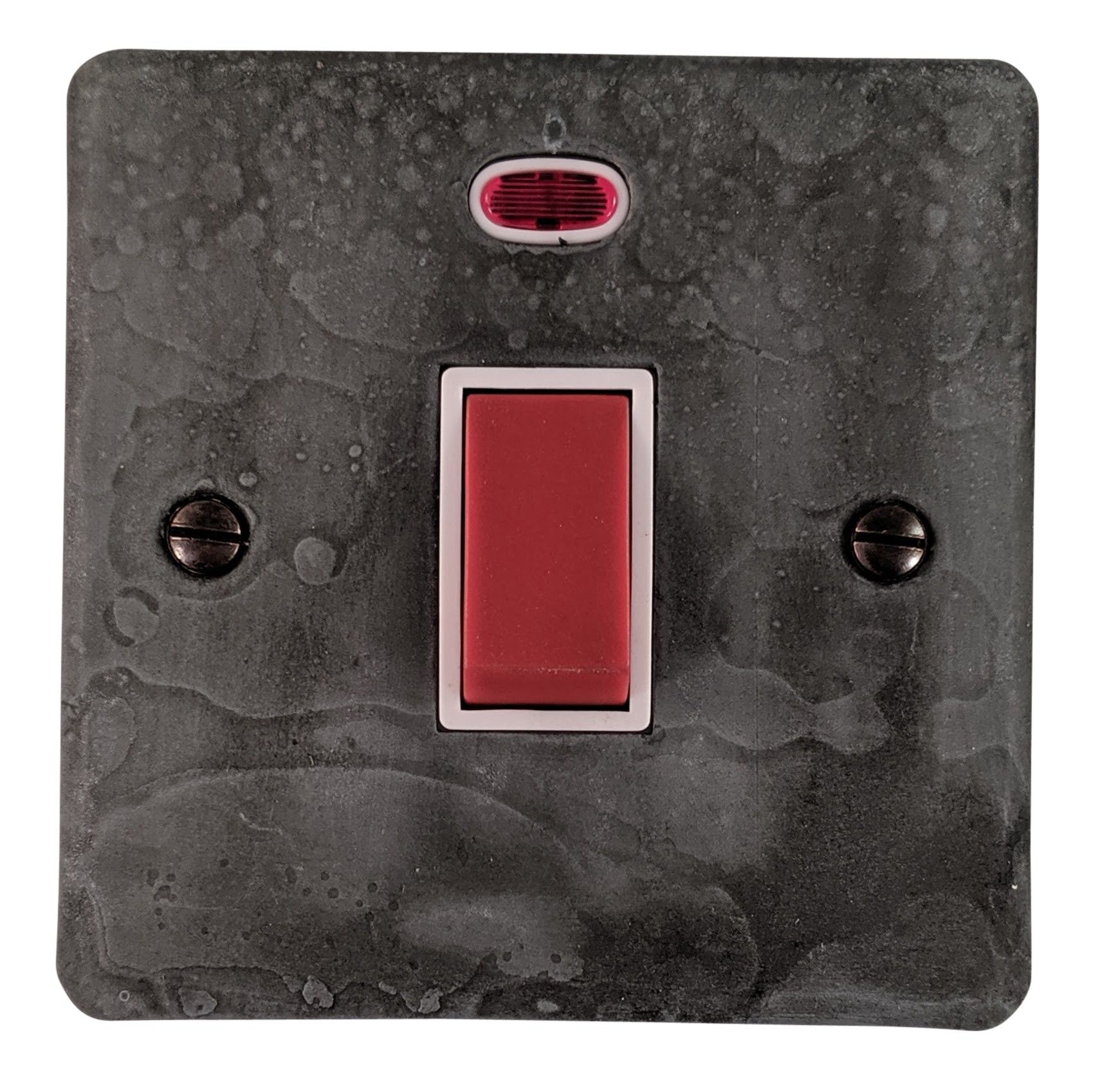 G&H FRP46W Flat Plate Rustic Pewter 45 Amp DP Cooker Switch & Neon Single Plate