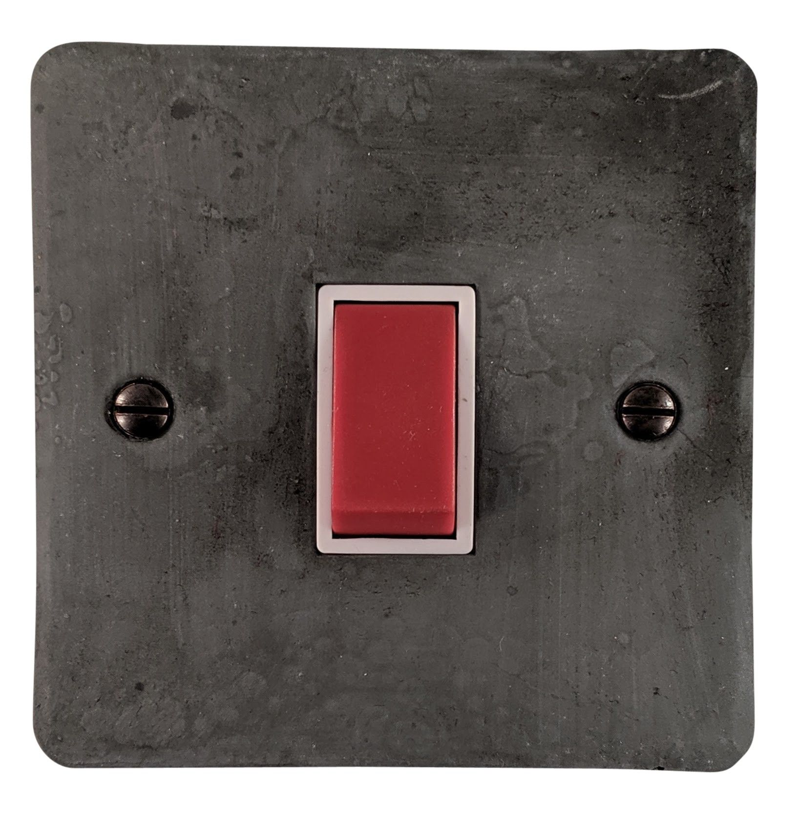 G&H FRP47W Flat Plate Rustic Pewter 45 Amp DP Cooker Switch Single Plate