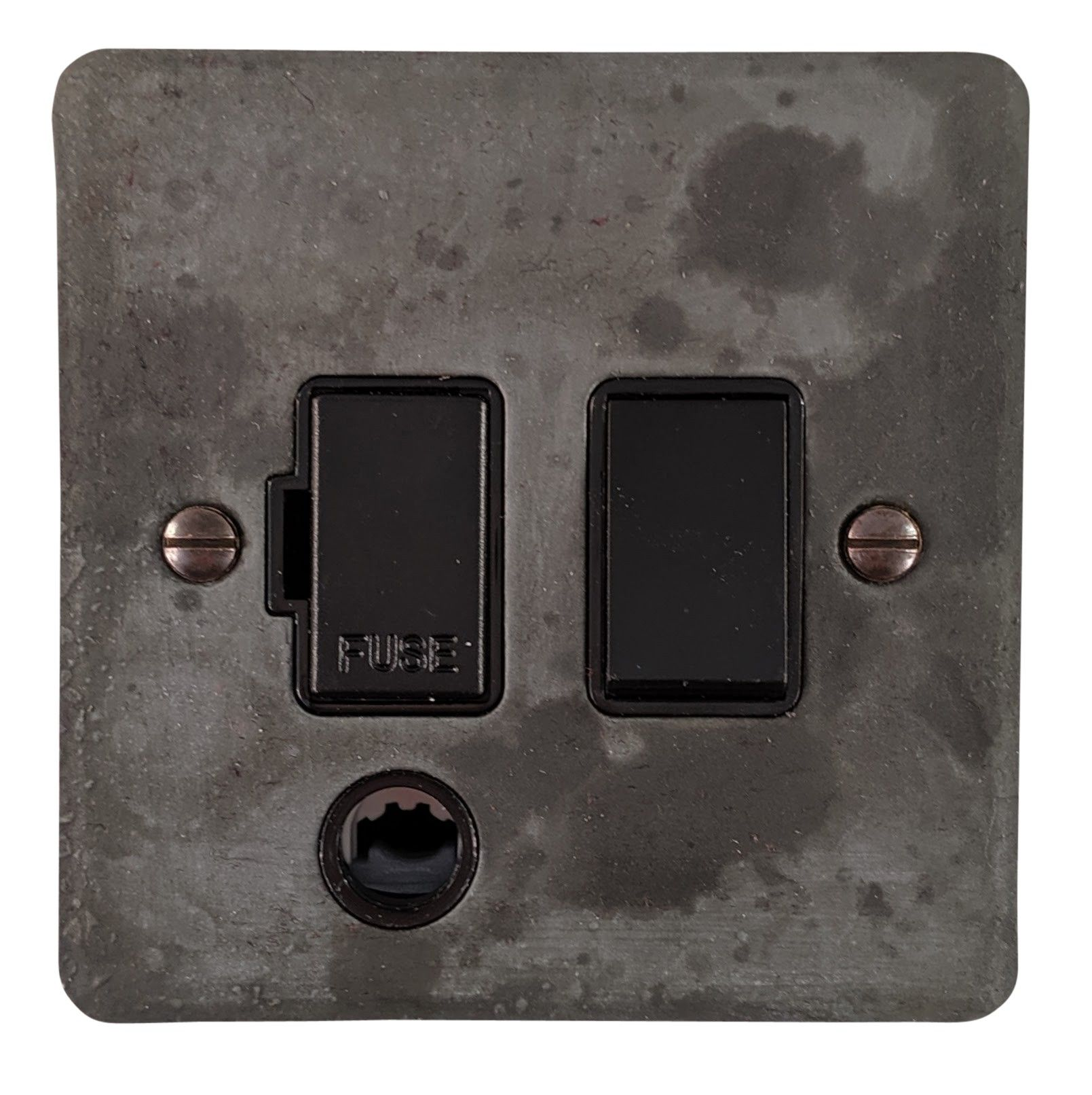 G&H FRP56B Flat Plate Rustic Pewter 1 Gang Fused Spur 13A Switched & Flex Outlet