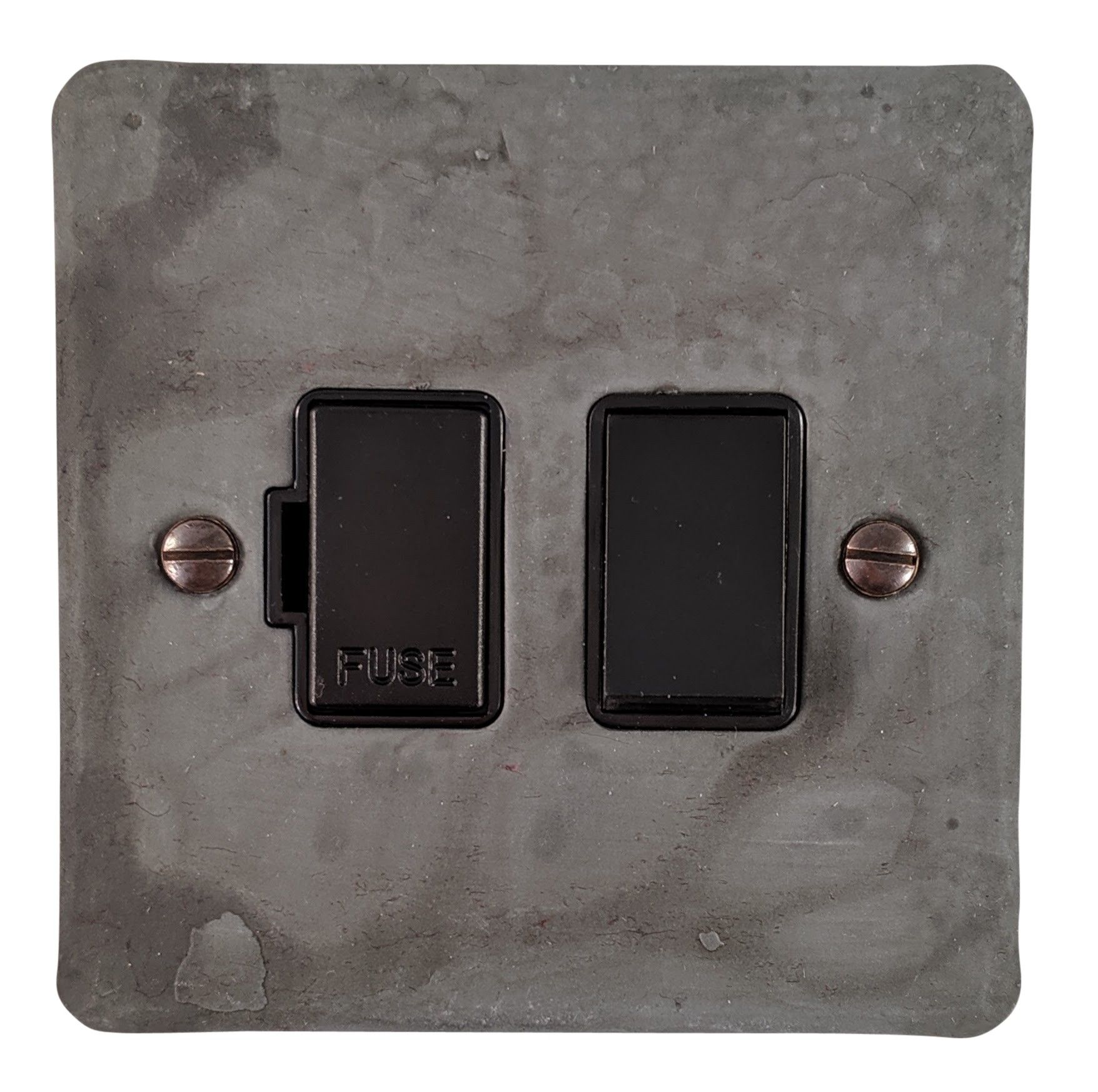 G&H FRP57B Flat Plate Rustic Pewter 1 Gang Fused Spur 13A Switched