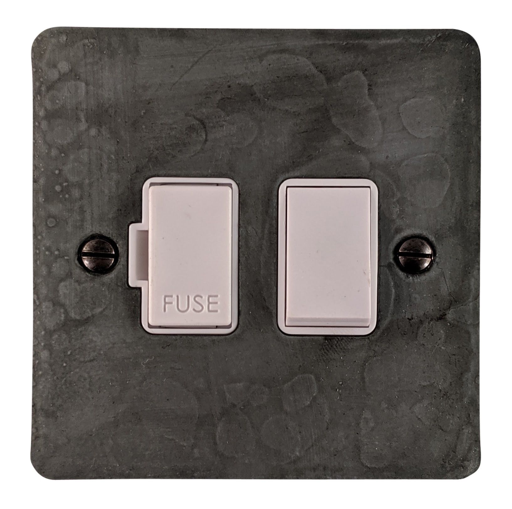 G&H FRP57W Flat Plate Rustic Pewter 1 Gang Fused Spur 13A Switched