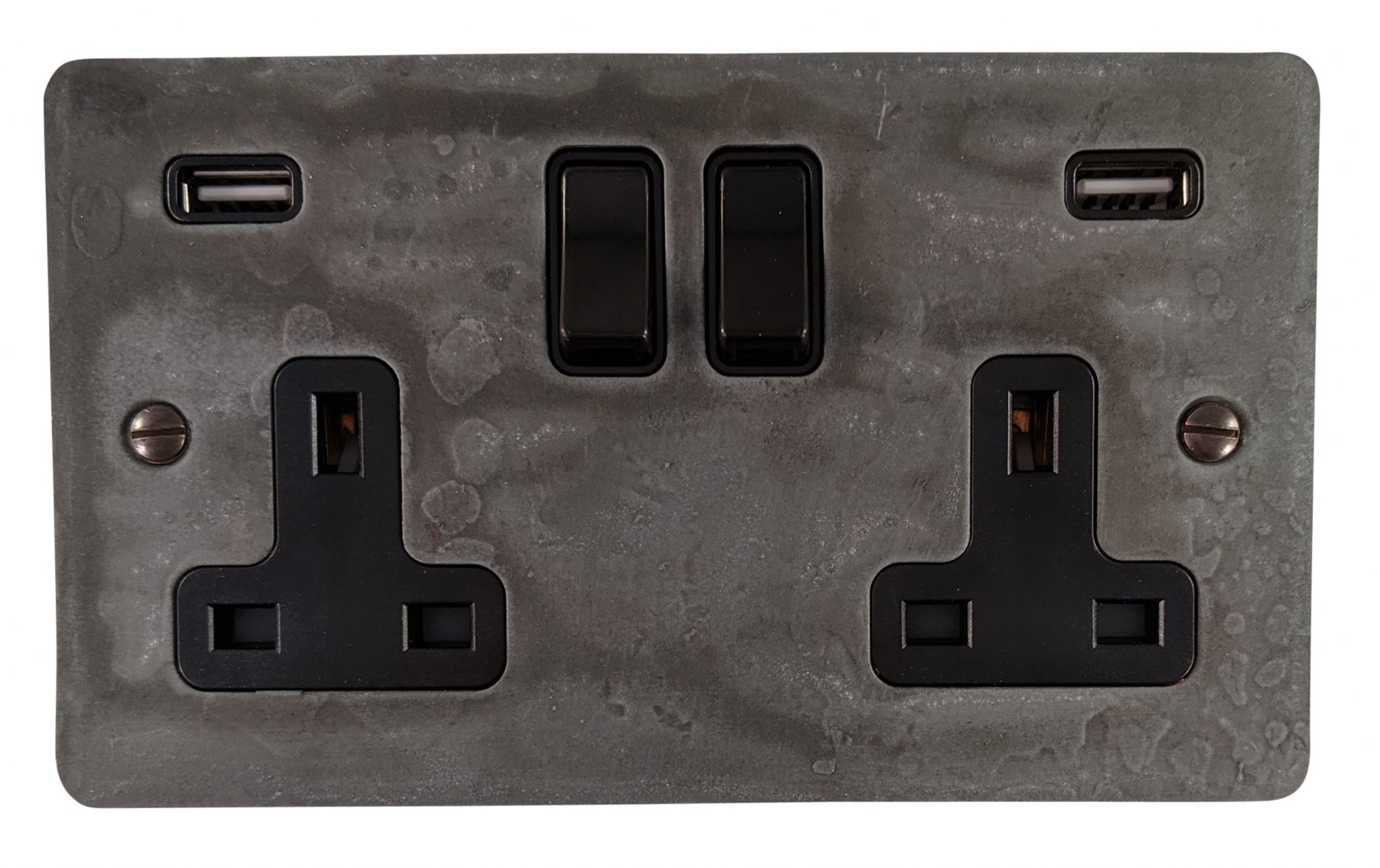 G&H FRP910B Flat Plate Rustic Pewter 2 Gang Double 13A Switched Plug Socket 2.1A USB
