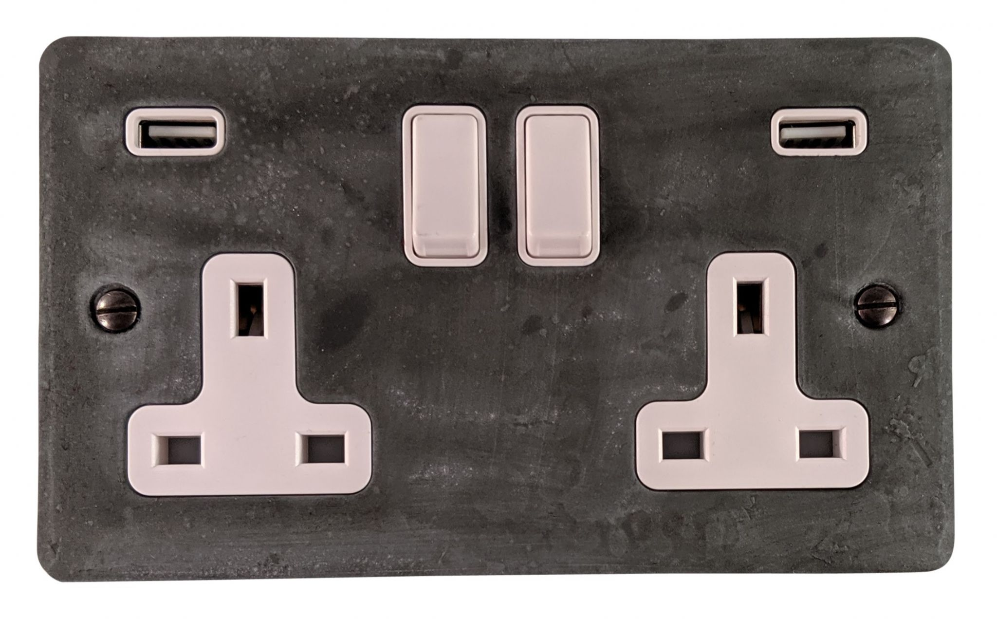 G&H FRP910W Flat Plate Rustic Pewter 2 Gang Double 13A Switched Plug Socket 2.1A USB