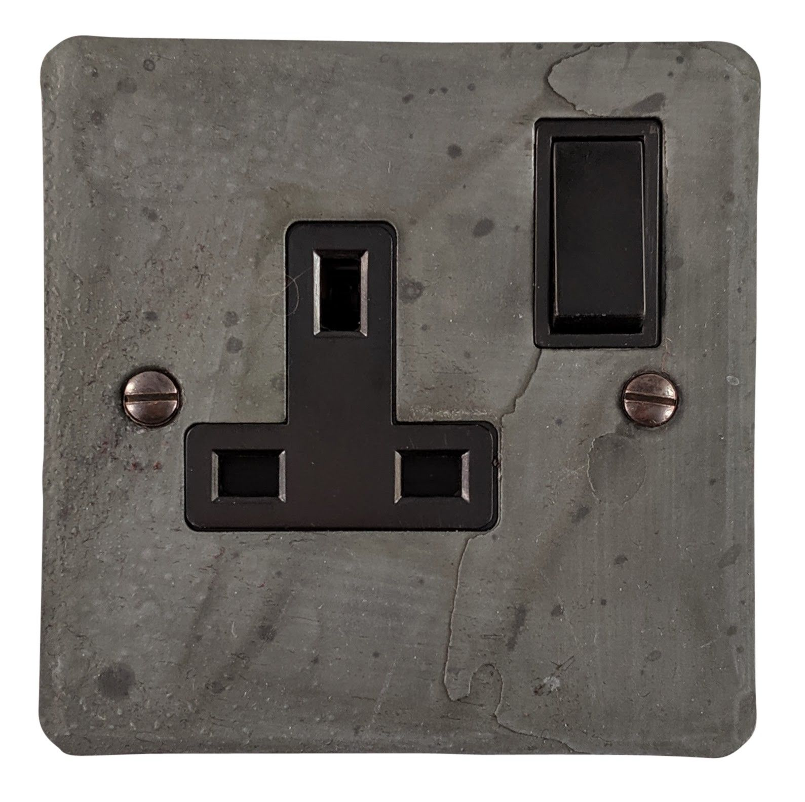 G&H FRP9B Flat Plate Rustic Pewter 1 Gang Single 13A Switched Plug Socket