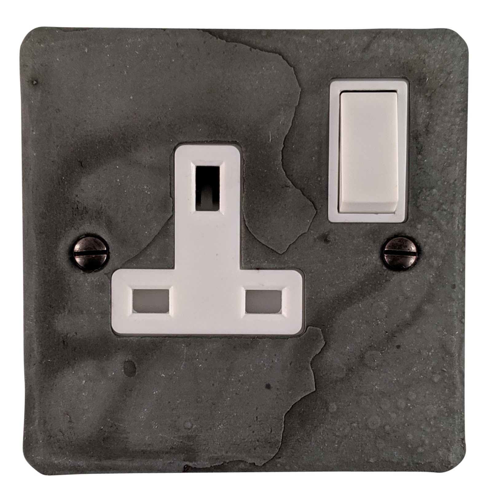 G&H FRP9W Flat Plate Rustic Pewter 1 Gang Single 13A Switched Plug Socket