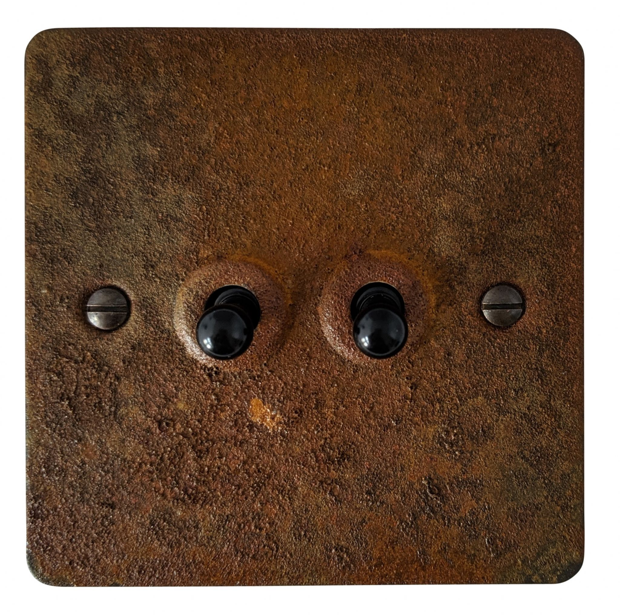 G&H FRT282 Flat Plate Rust 2 Gang 1 or 2 Way Toggle Light Switch