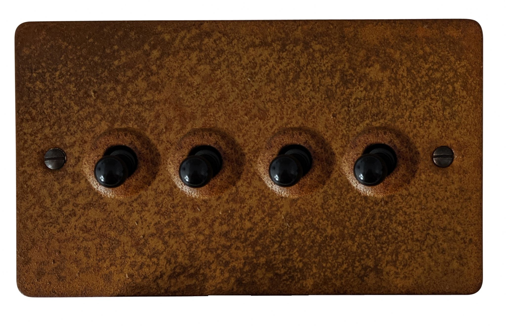 G&H FRT284 Flat Plate Rust 4 Gang 1 or 2 Way Toggle Light Switch