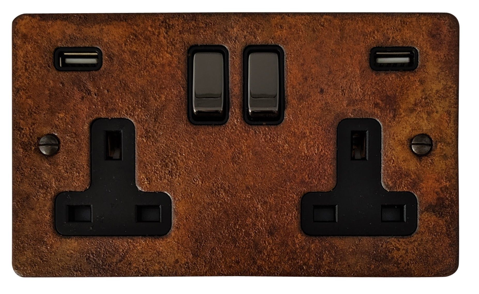 G&H FRT3910 Flat Plate Rust 2 Gang Double 13A Switched Plug Socket 2.1A USB