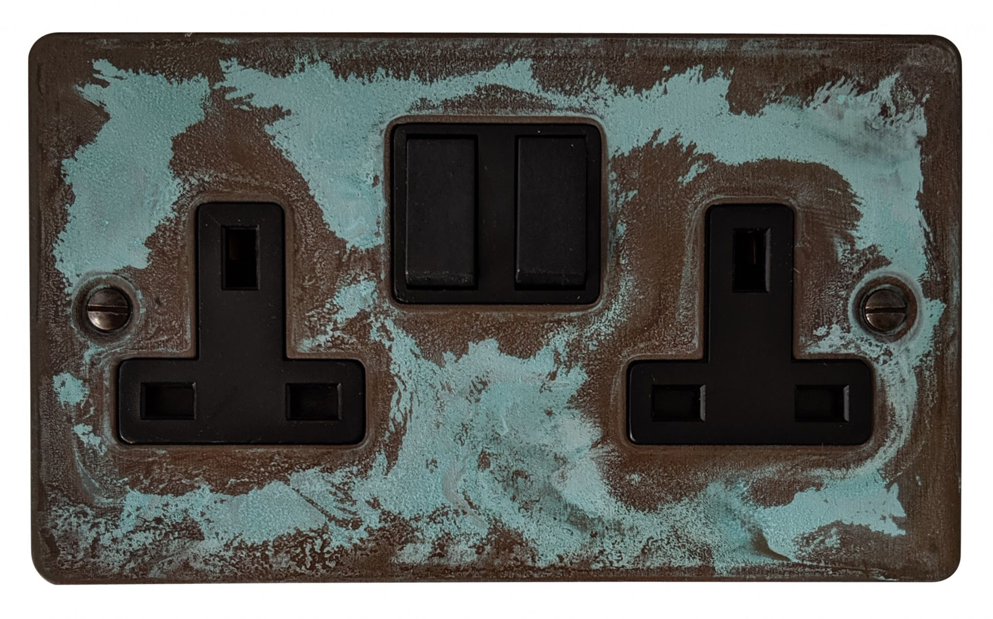 G&H FV10B Flat Plate Verdigris 2 Gang Double 13A Switched Plug Socket