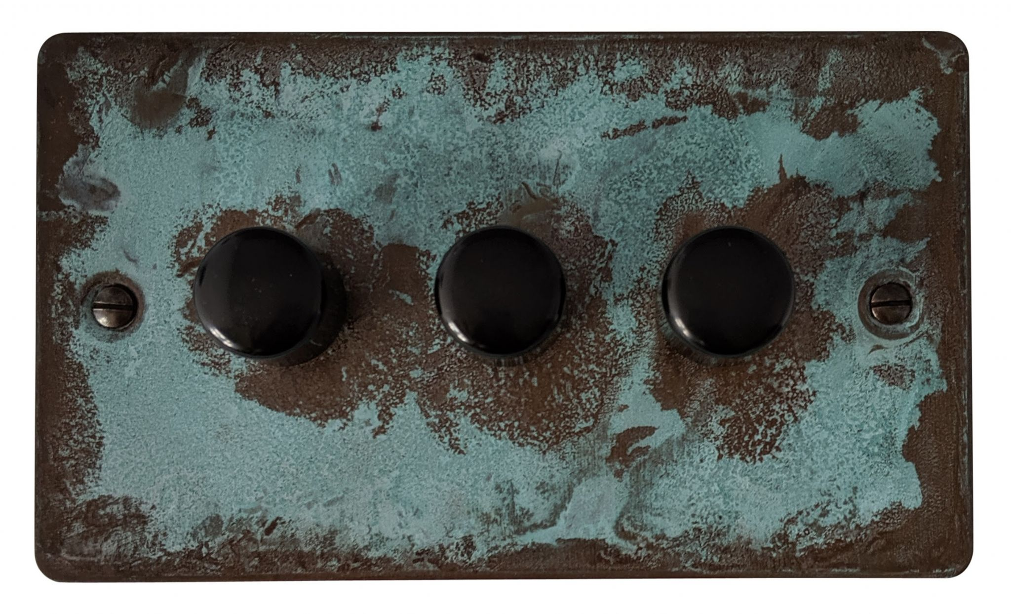 G&H FV13 Flat Plate Verdigris 3 Gang 1 or 2 Way 40-400W Dimmer Switch