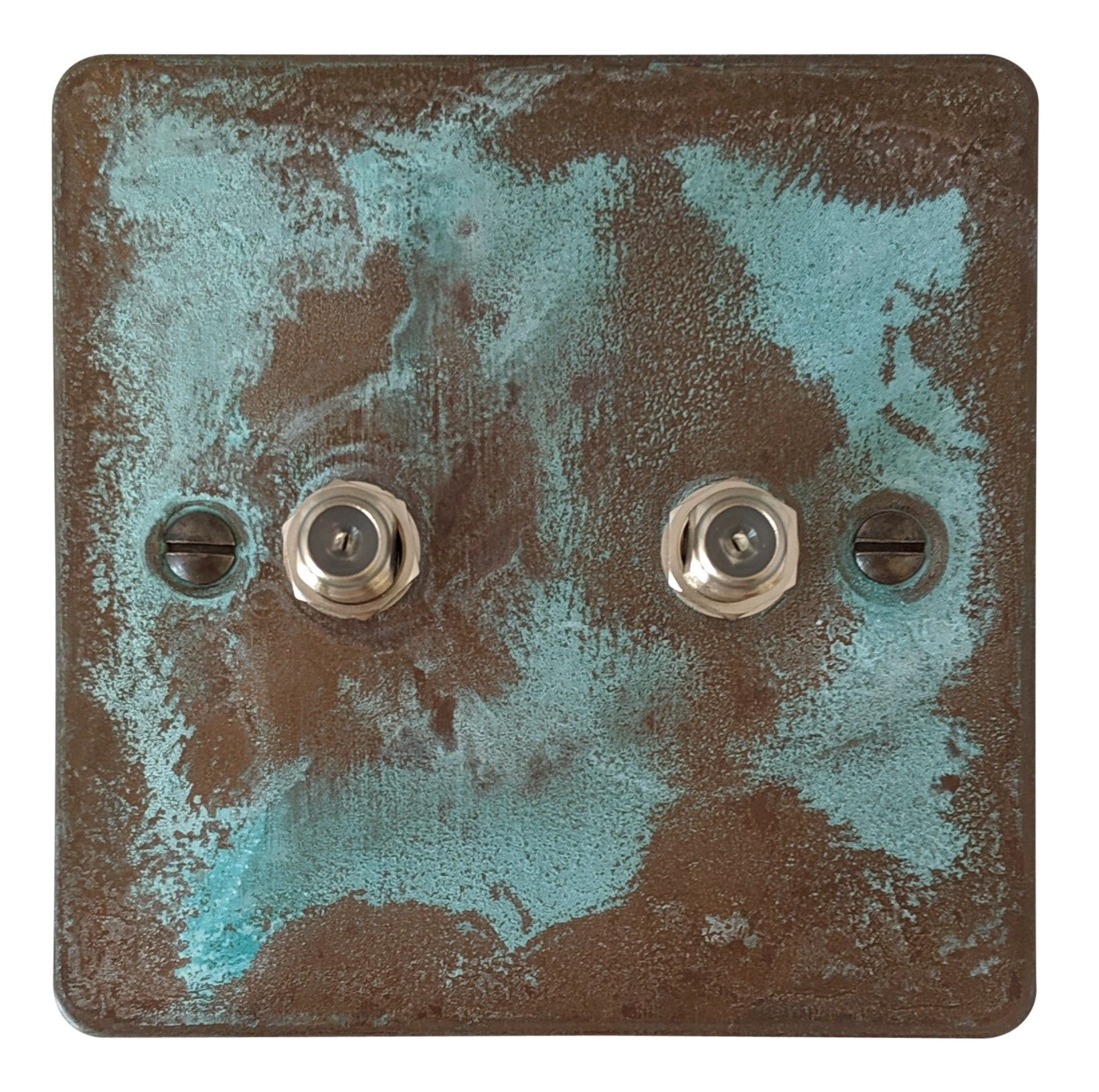 G&H FV237 Flat Plate Verdigris 2 Gang Satellite Socket Point
